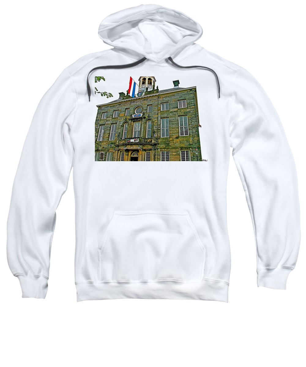 Dutch Architecture Of The Golden Age For Town Hall In Enkhuizen Sweatshirt featuring the photograph Dutch Architecture Of The Golden Age For Town Hall In Enkhuizen- by Ruth Hager