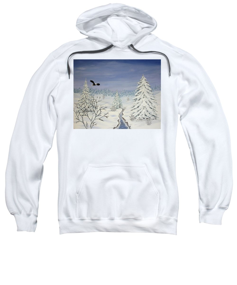 Flying Eagle Acrylic Painting Sweatshirt featuring the painting Eagle On Winter Lanscape by Georgeta Blanaru