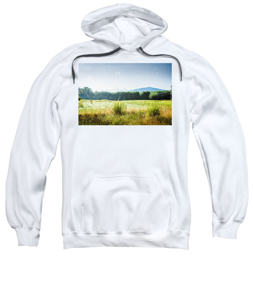 Blue Ridge Mountains Sweatshirt featuring the photograph Early Morning Mist In The Valleys And Farmlands Of The Blue Ridge Mountains by Mela Luna