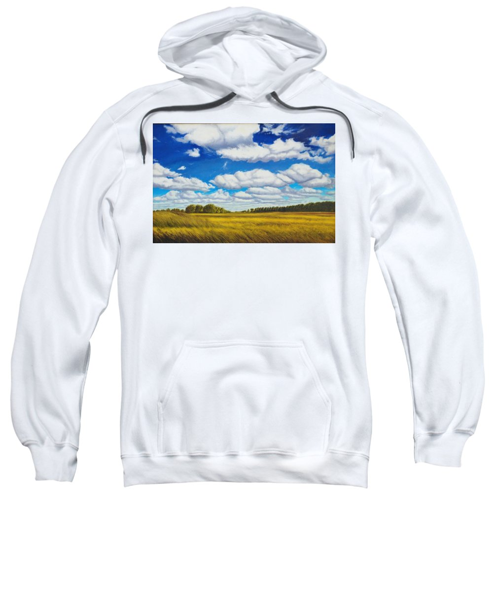 Wheat Sweatshirt featuring the painting Early Summer Clouds by Leonard Heid