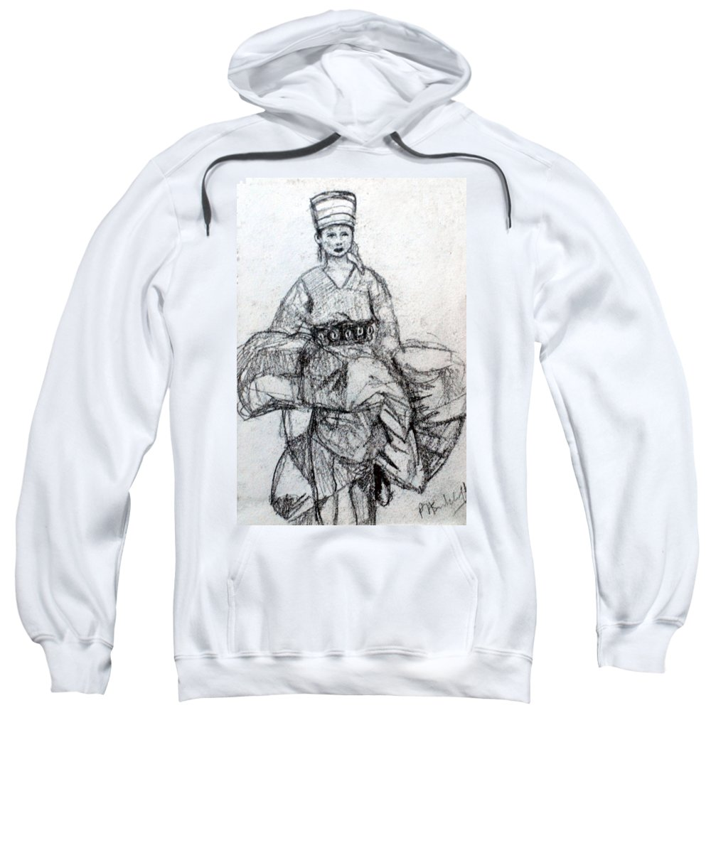Asia Sweatshirt featuring the drawing East Asian Woman by Paul Sutcliffe