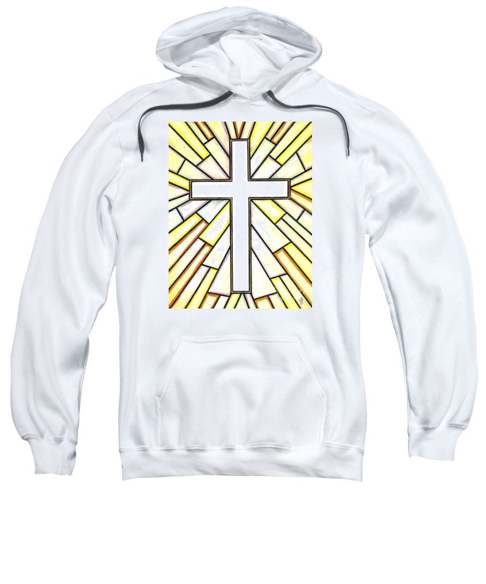 Cross Sweatshirt featuring the painting Easter Cross 3 by Jim Harris