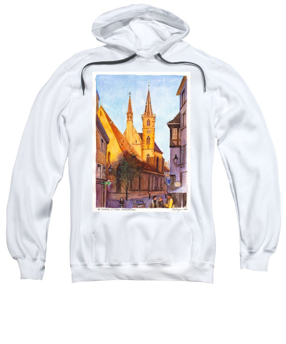 Evening Sweatshirt featuring the painting Eglise St Pierre Le Vieux Strasbourg by Dai Wynn