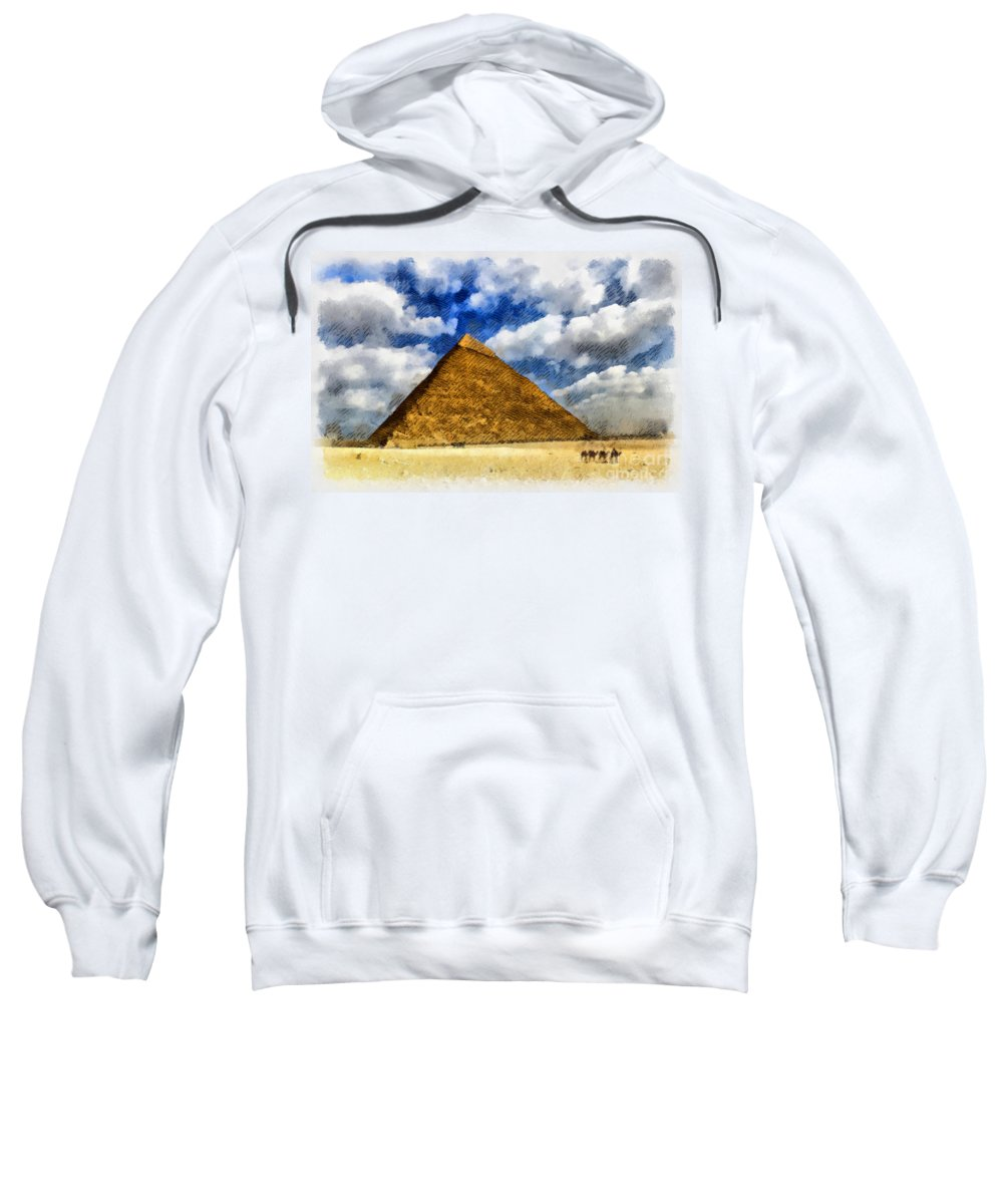 Pyramids Sweatshirt featuring the digital art Egyptian Pyramid by Sophie McAulay