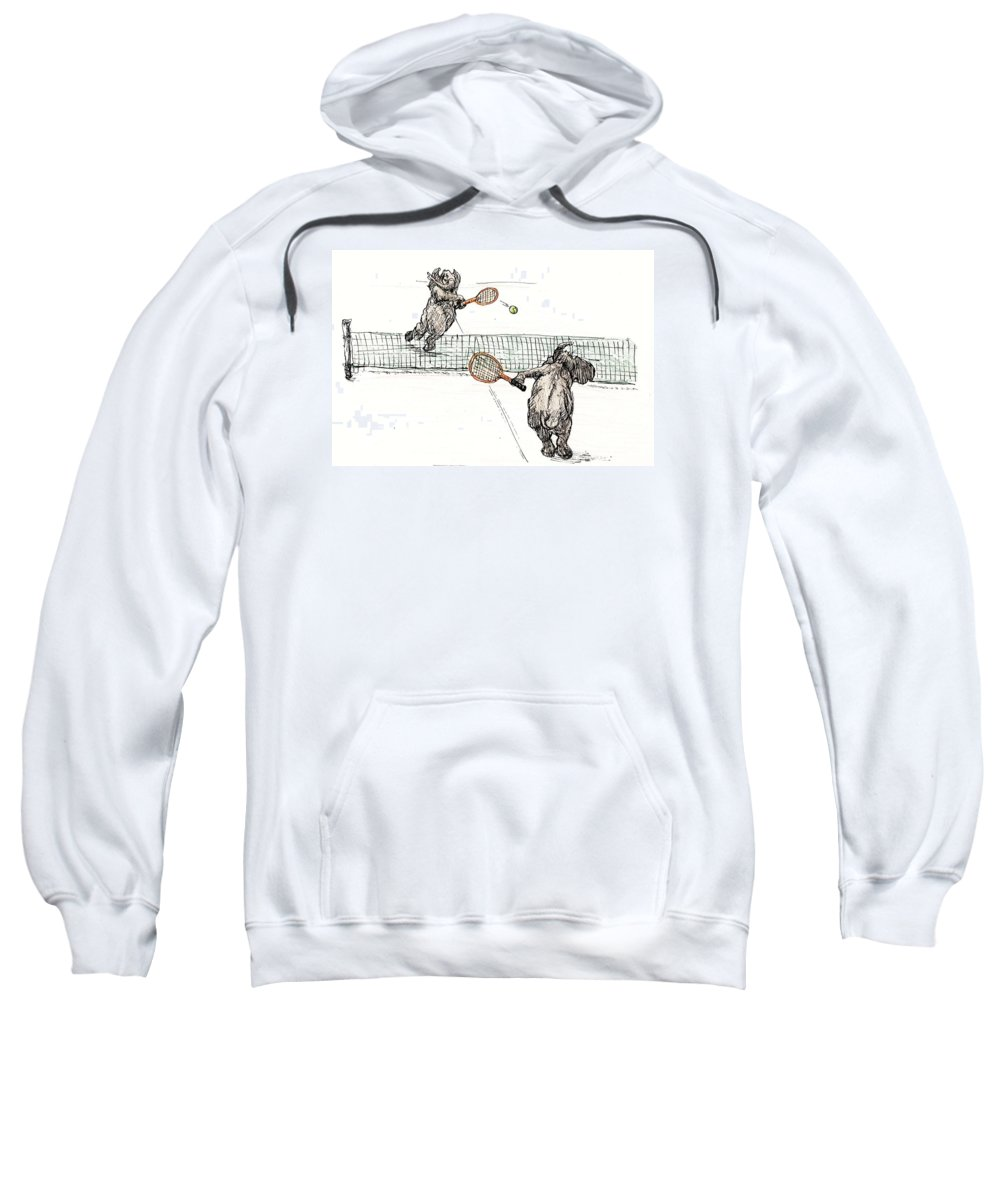 Cartoon Sweatshirt featuring the painting Elephants Playing Tennis by Donna Tucker