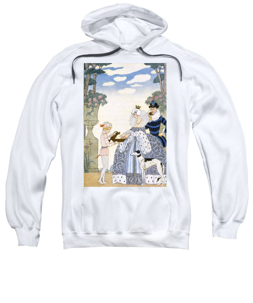Stencil Sweatshirt featuring the painting Elizabethan England by Georges Barbier