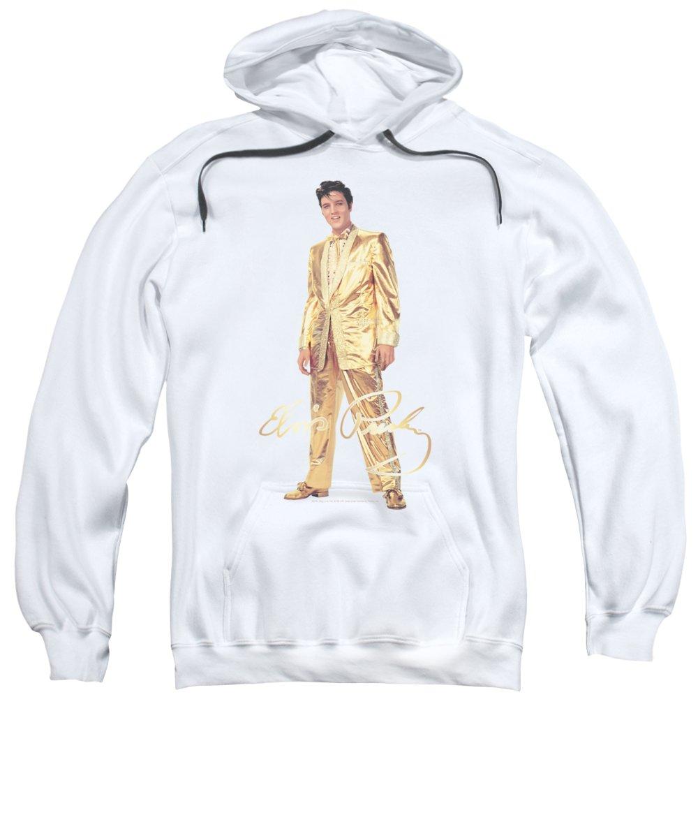 Elvis Sweatshirt featuring the digital art Elvis - Gold Lame Suit by Brand A