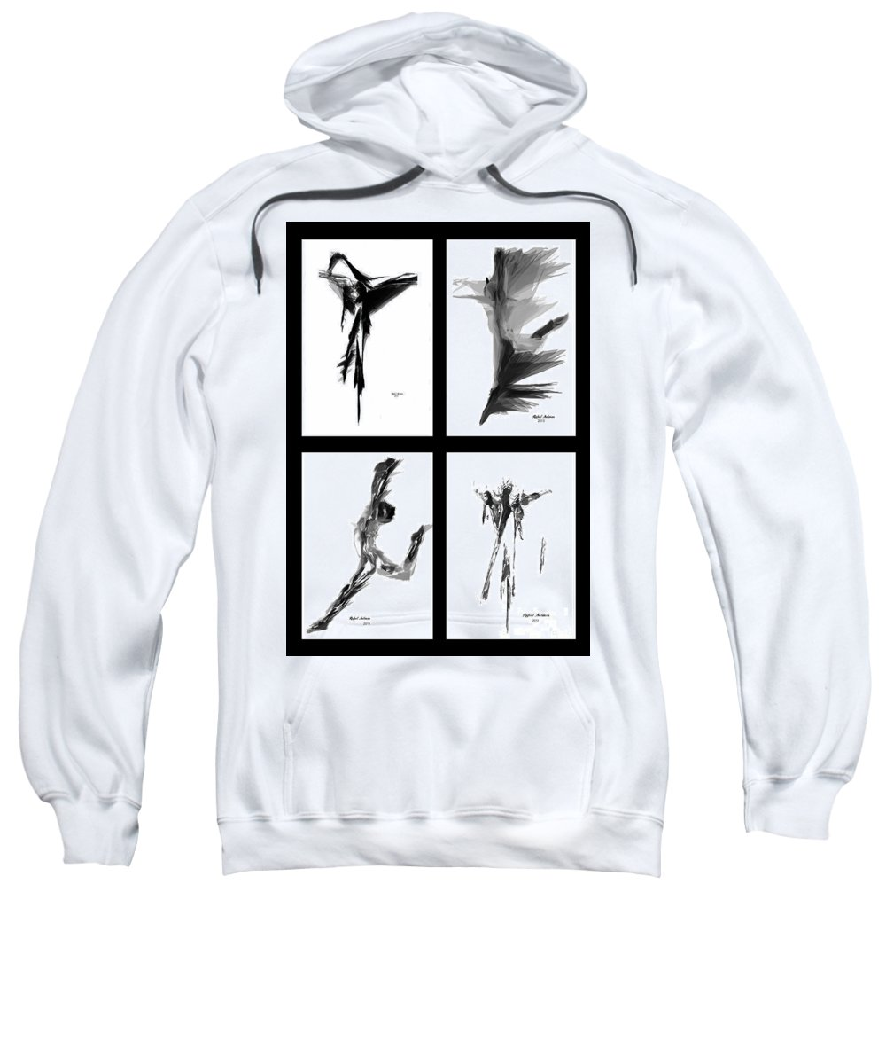 Abstract Sweatshirt featuring the digital art Emotions In Black - Abstract Quad by Rafael Salazar