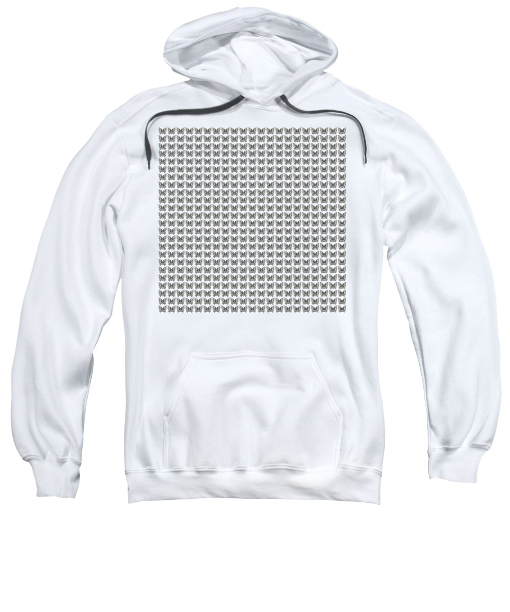 Butterfly Sweatshirt featuring the drawing Endless Butterflies On White by Helena Tiainen