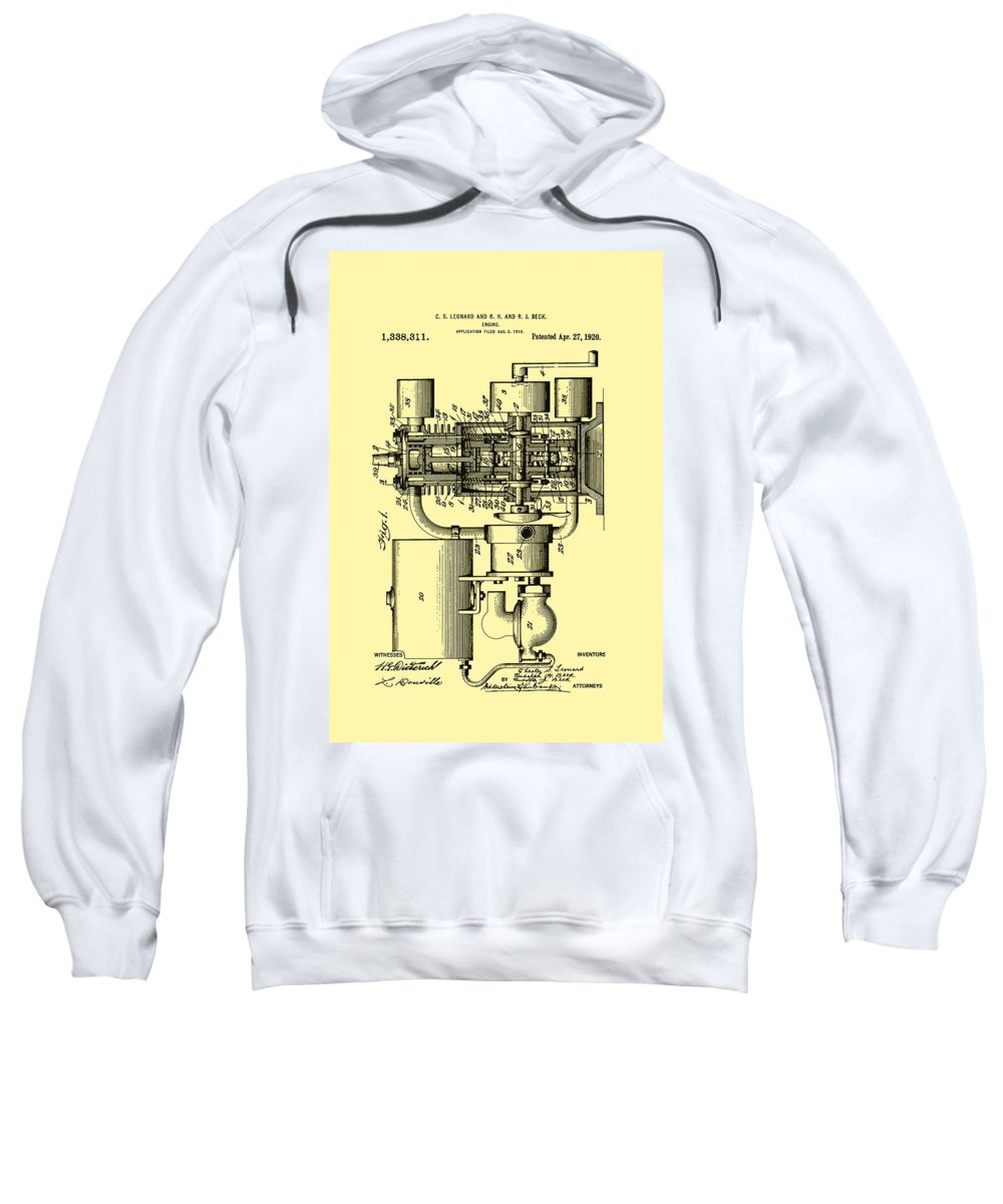 Patent Sweatshirt featuring the drawing Engine Patent 1920 by Mountain Dreams