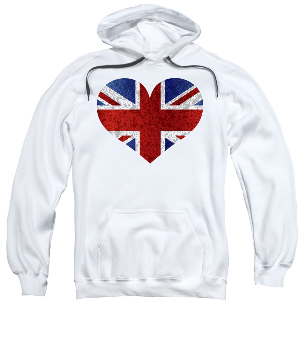 Union Sweatshirt featuring the photograph England Union Jack Flag Heart Textured by Jit Lim
