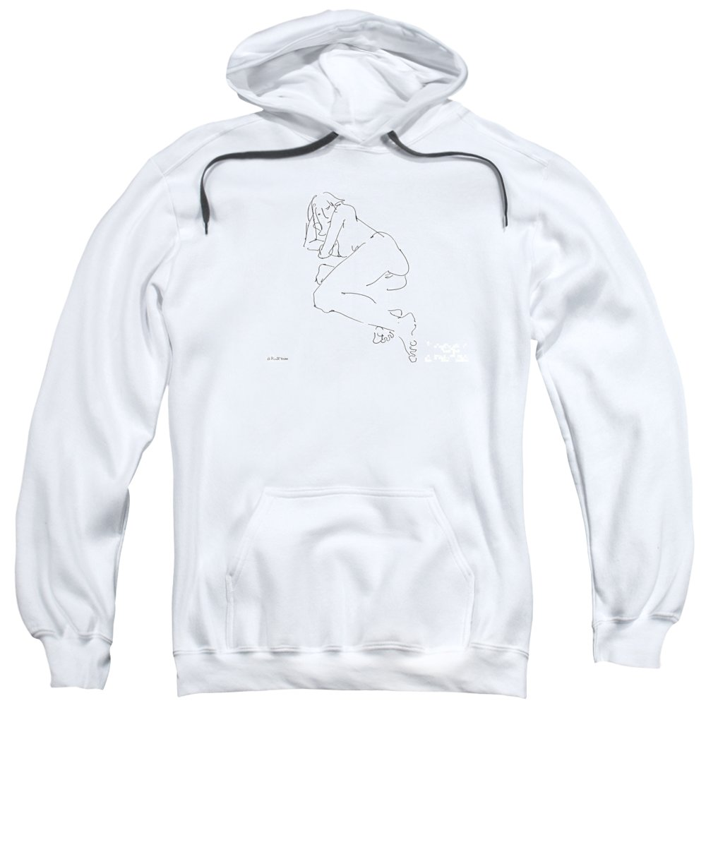Erotic Renderings Sweatshirt featuring the drawing Erotic-female-drawings-21 by Gordon Punt