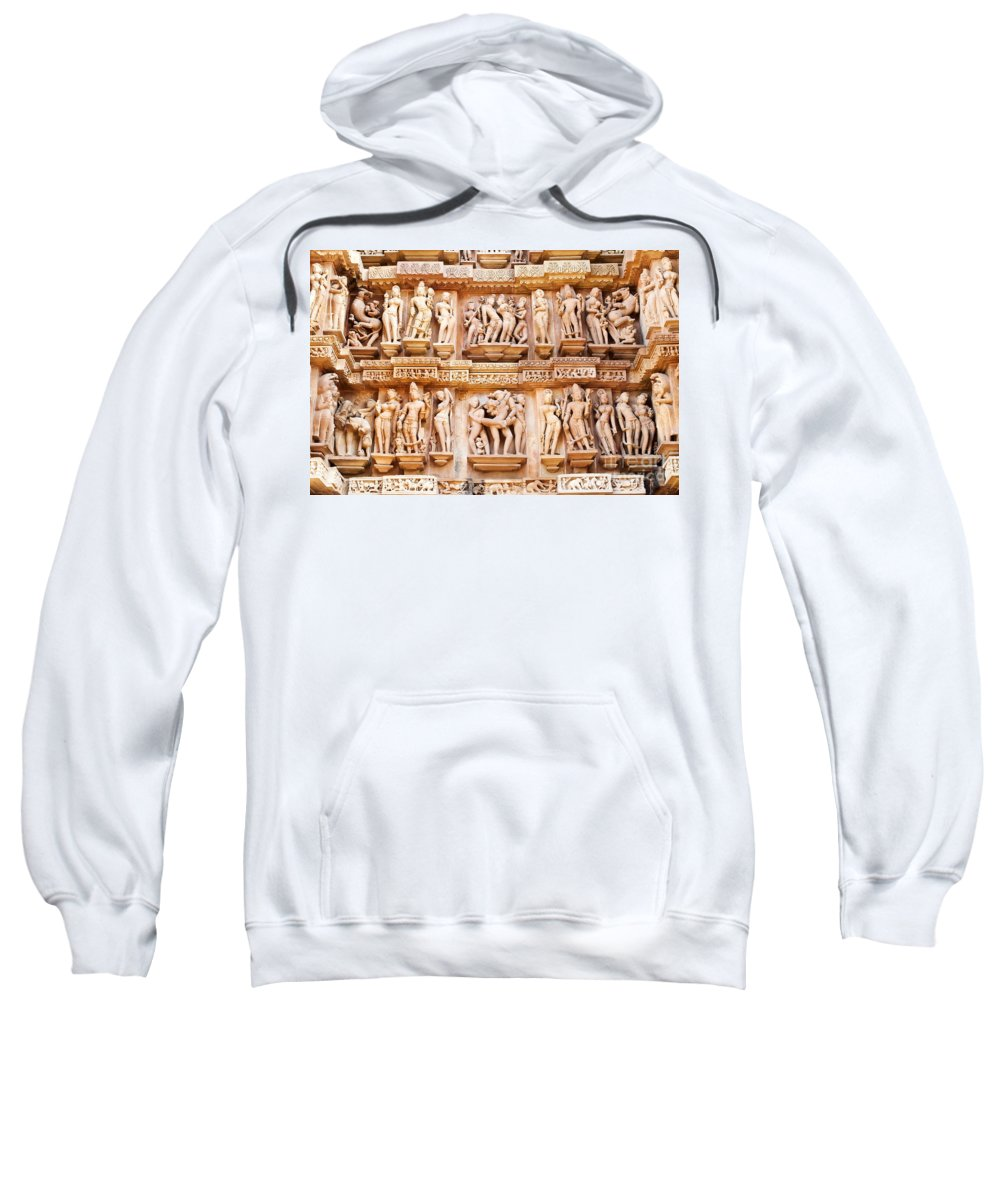Khajuraho Sweatshirt featuring the photograph Erotic Human Sculptures Khajuraho India by Rudra Narayan Mitra