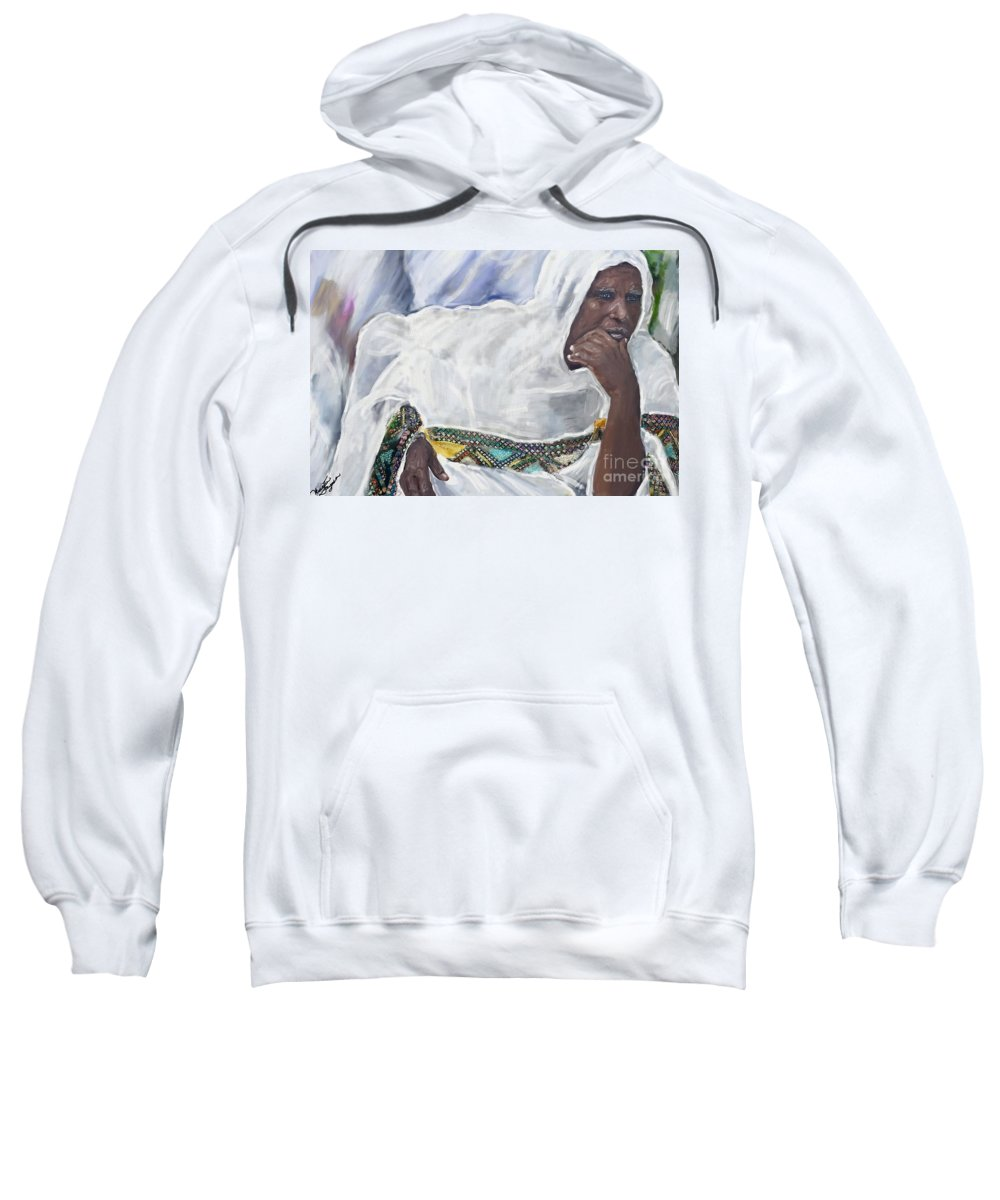 Watercolor Sweatshirt featuring the painting Ethiopian Orthodox Jewish Woman by Vannetta Ferguson