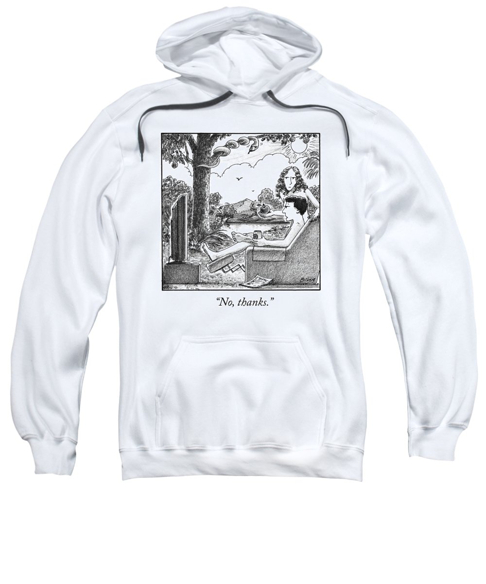 Ino Thanks.i Adam And Eve Sweatshirt featuring the drawing Eve Offers Adam An Apple by Harry Bliss