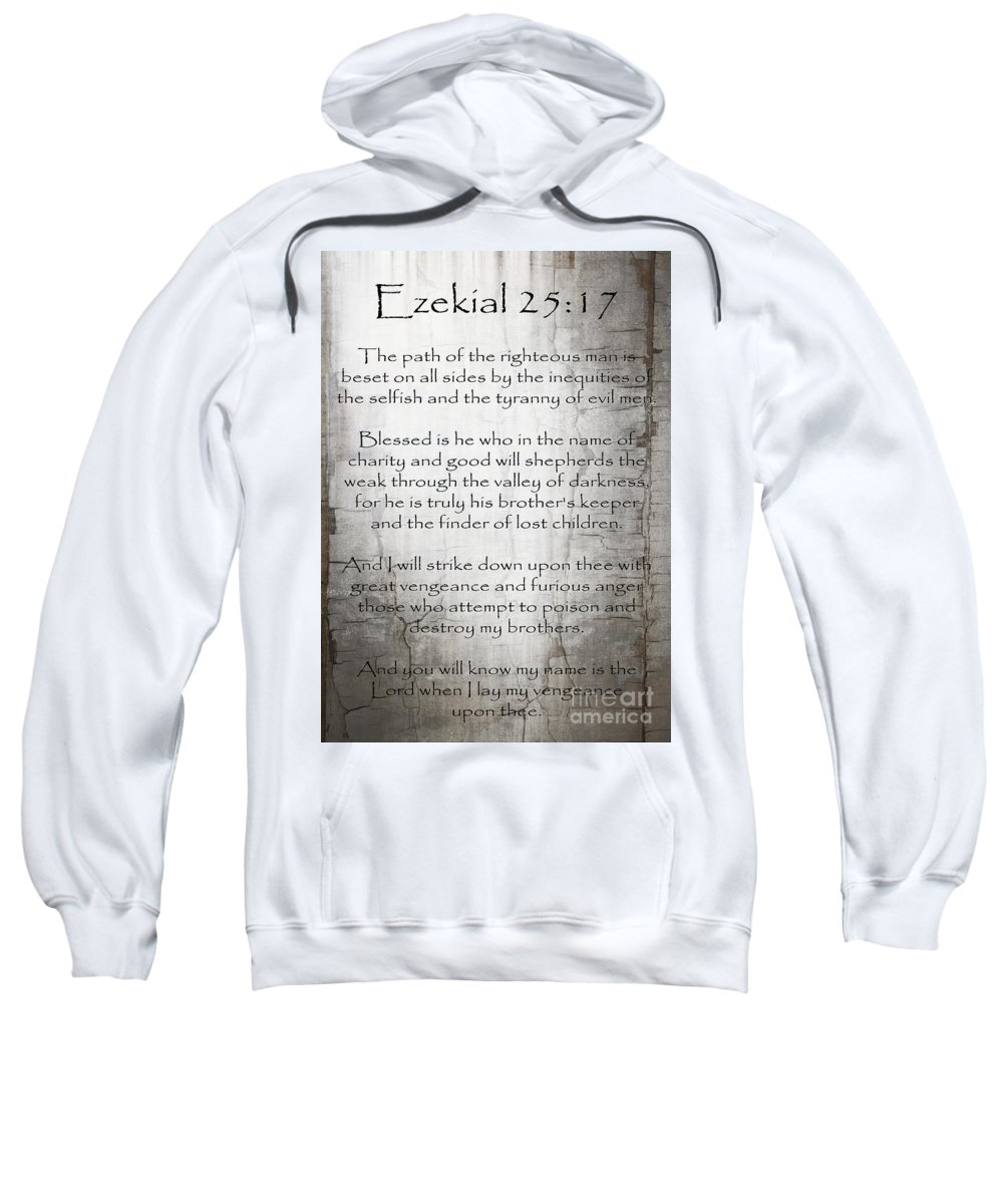 Ezekial 25:17 Sweatshirt featuring the painting Ezekial 25 17 by Roz Abellera
