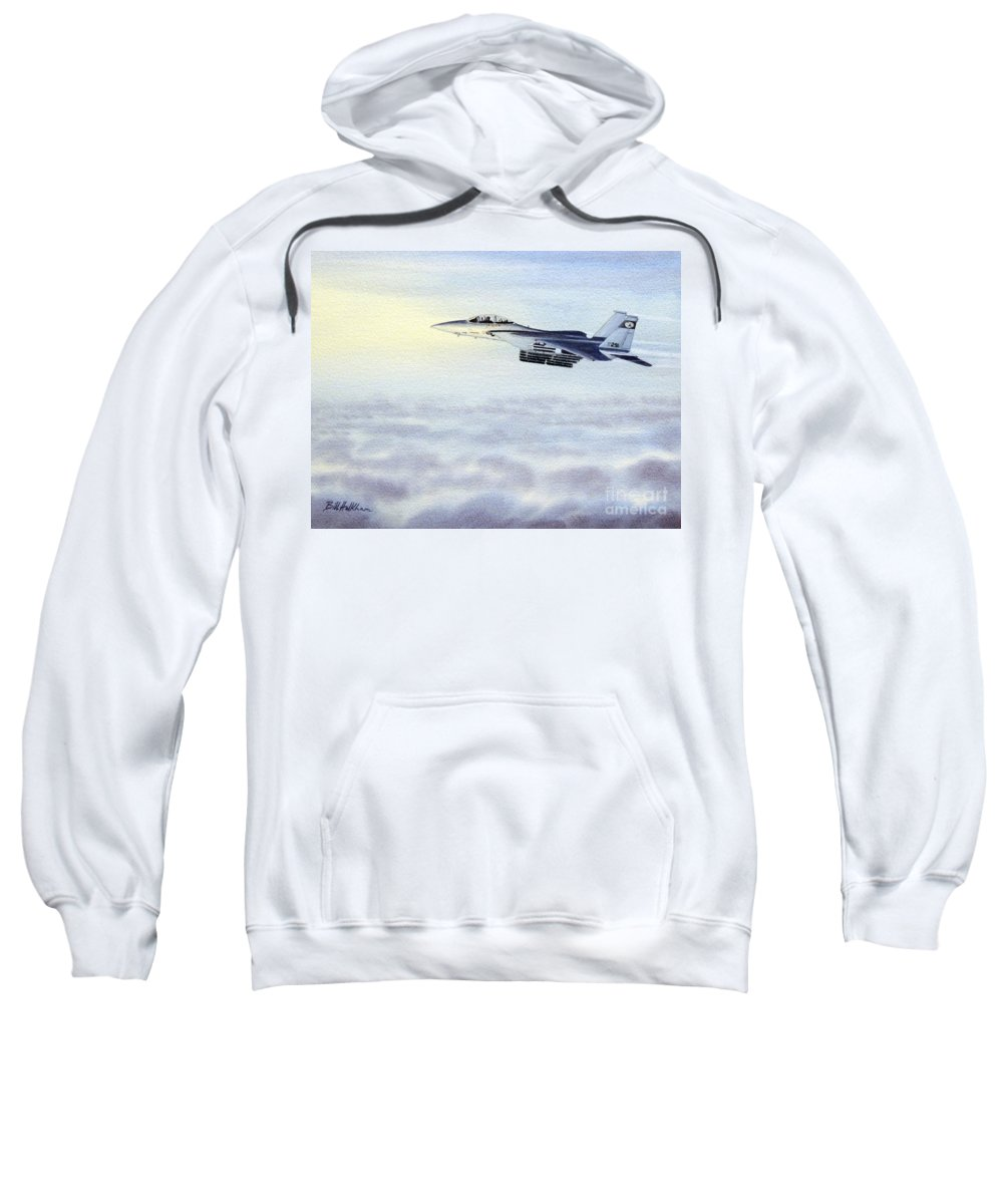 Aircraft Paintings Sweatshirt featuring the painting F-15 Eagle by Bill Holkham