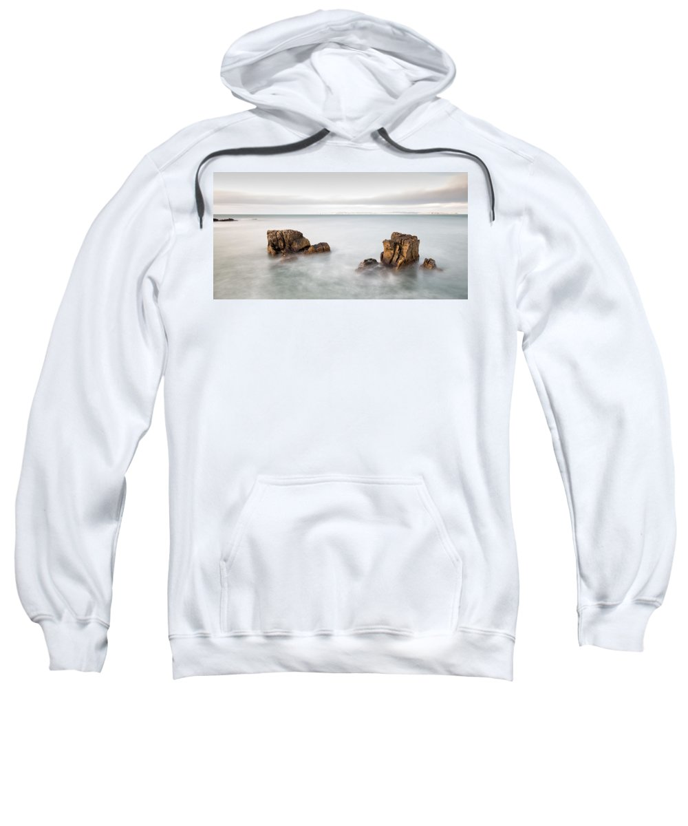 Pans Rock Sweatshirt featuring the photograph Ballycastle - Face In The Rock by Nigel R Bell