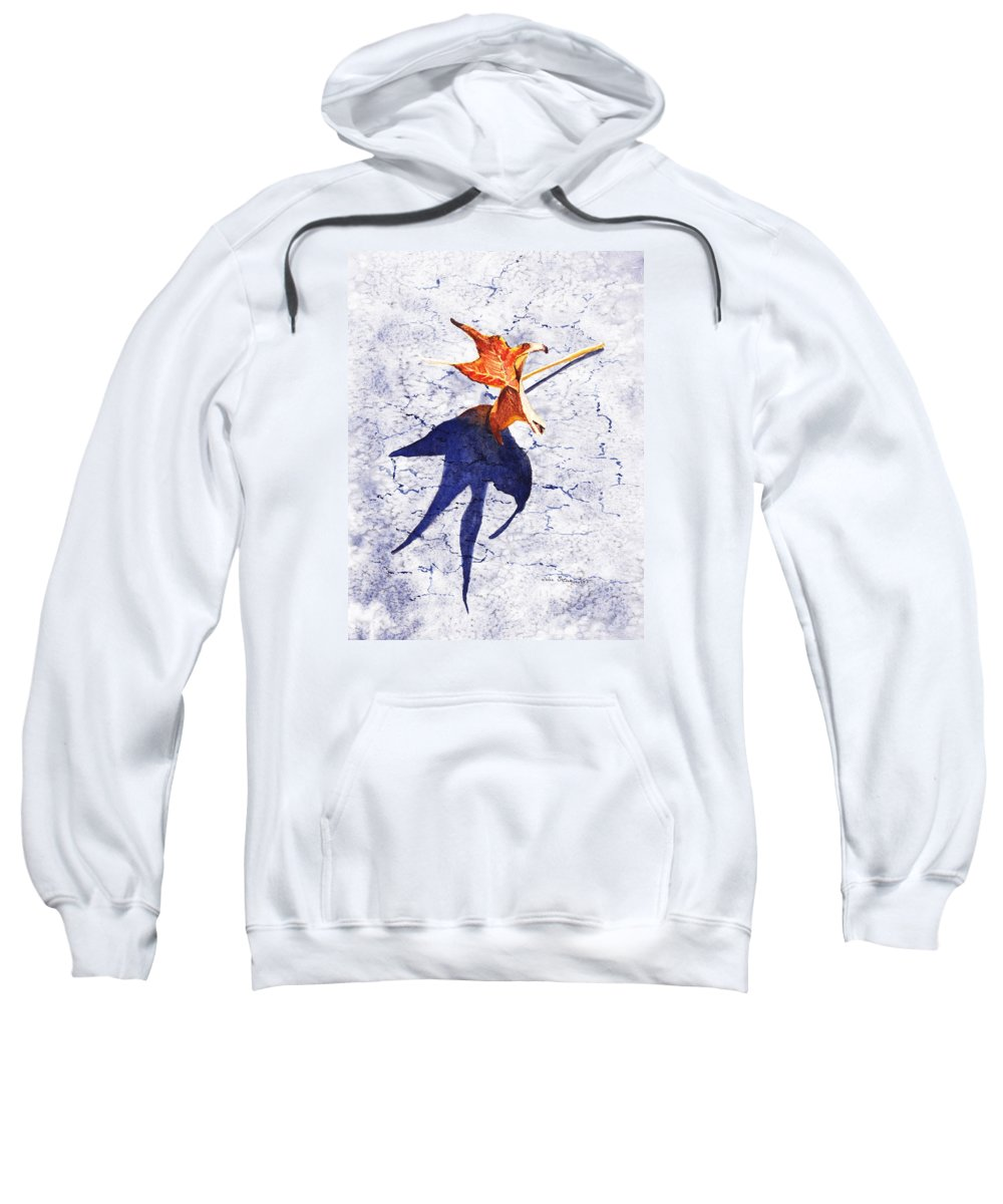 Fall Sweatshirt featuring the painting Fallen Leaf King Size Shadow by Irina Sztukowski