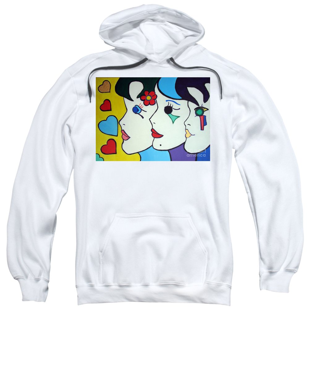 Pop-art Sweatshirt featuring the painting Falling In Love by Silvana Abel