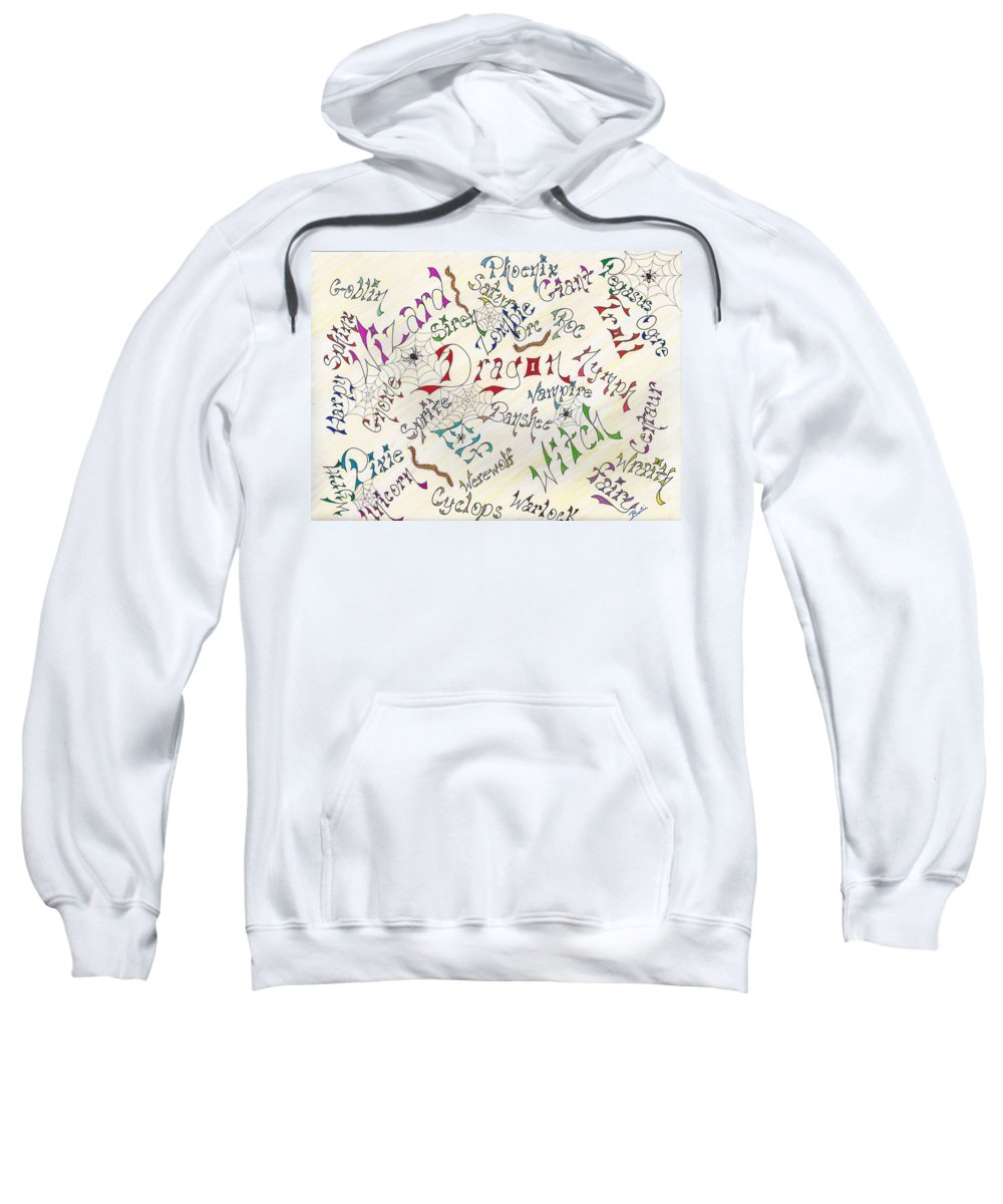 Pen Sweatshirt featuring the drawing Fantasy Creatures by Bertie Edwards