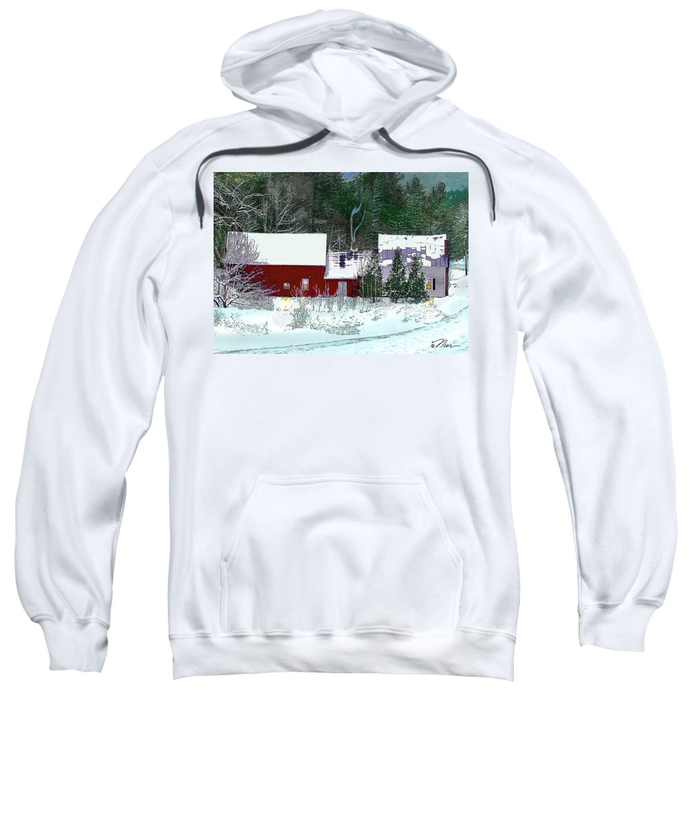 Vermont Sweatshirt featuring the digital art Farmhouse In Winter by Nancy Griswold