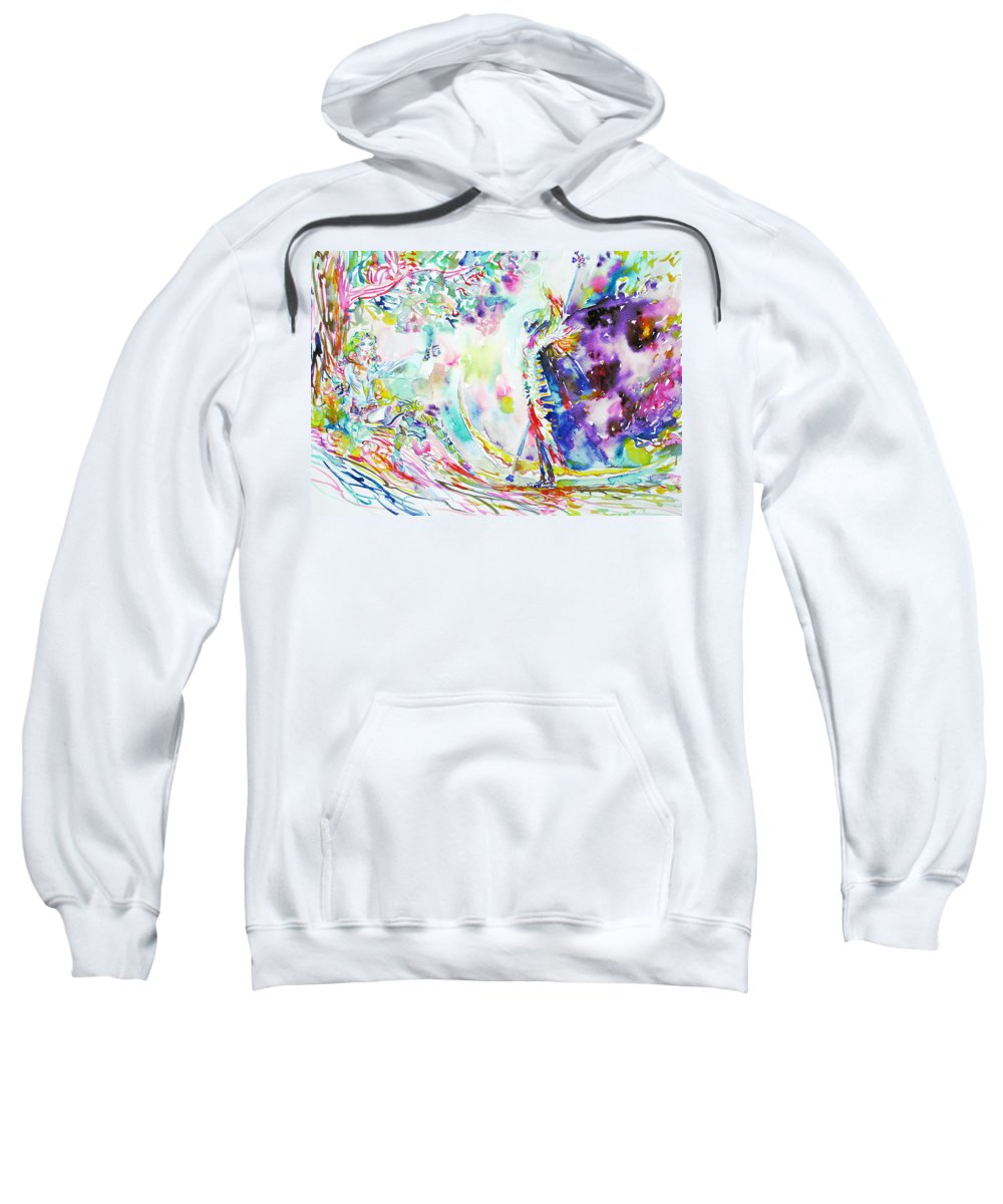 Lady Sweatshirt featuring the painting Fashion Lady And Death Under A Tree by Fabrizio Cassetta