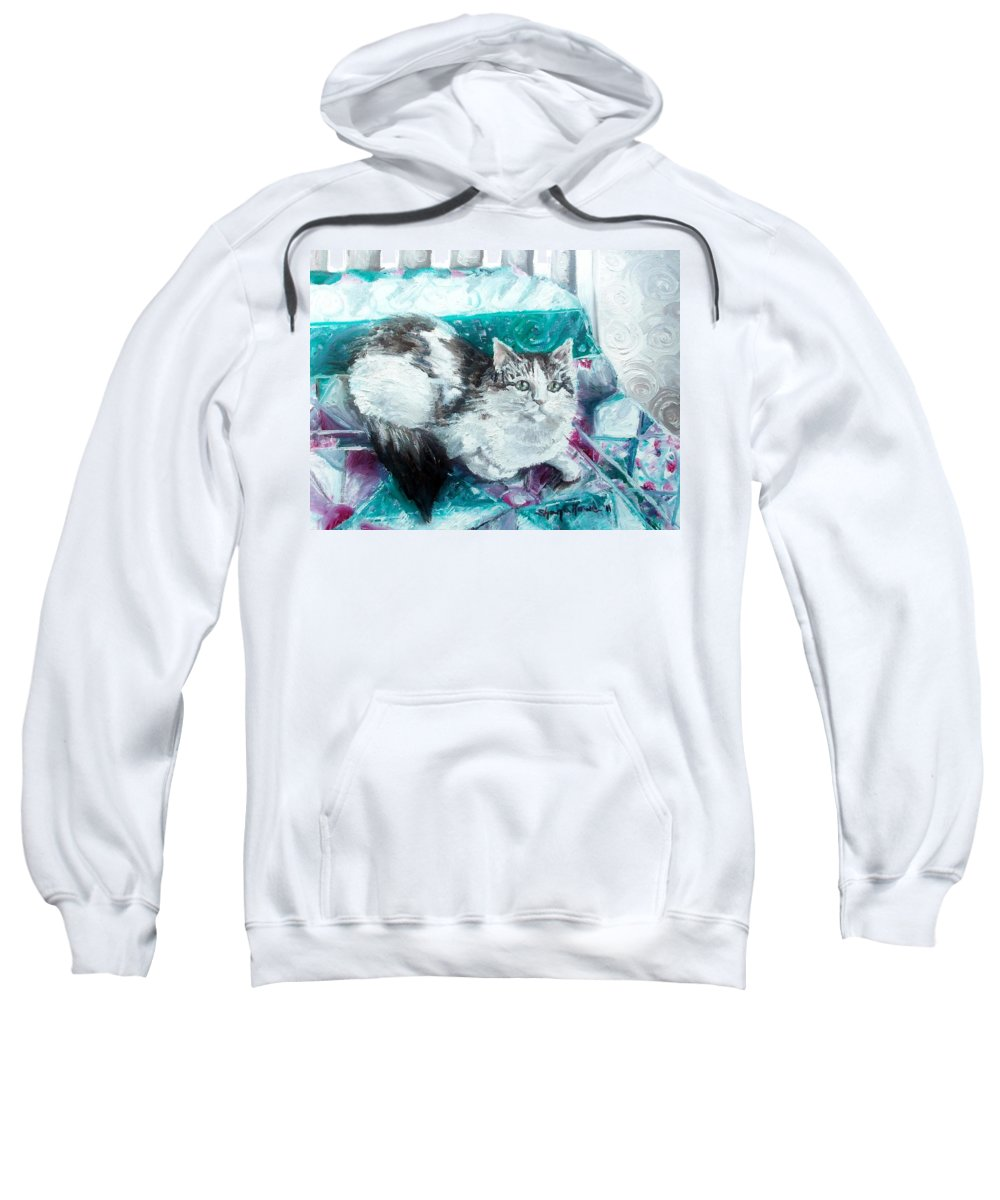Cat Sweatshirt featuring the painting Feather Belle by Shana Rowe Jackson