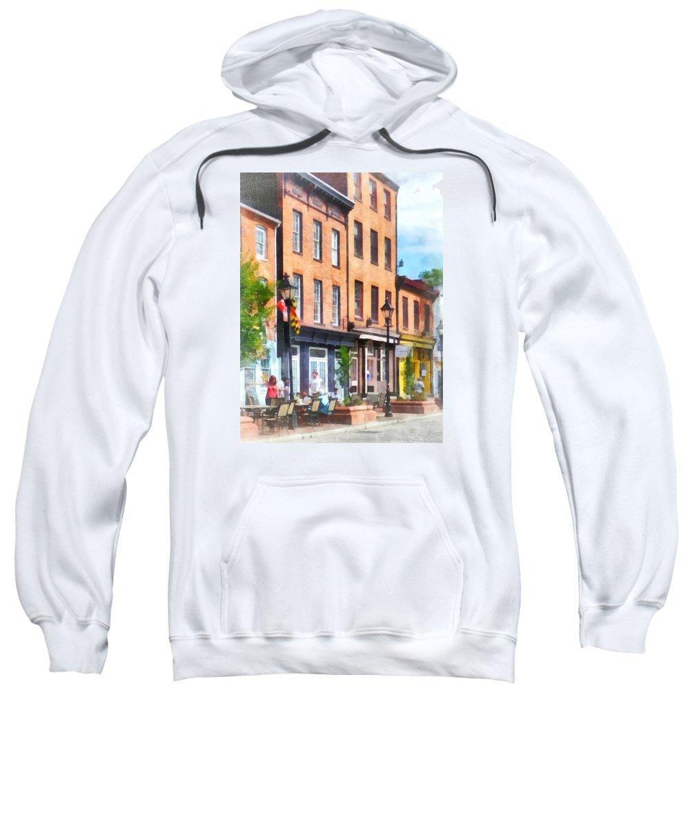 Fells Point Sweatshirt featuring the photograph Fells Point Street by Susan Savad