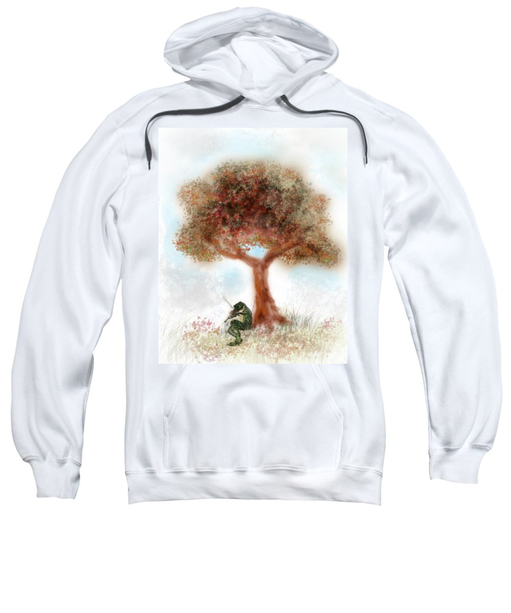 Frog Sweatshirt featuring the painting Fiddling Frog by Terry Fleckney