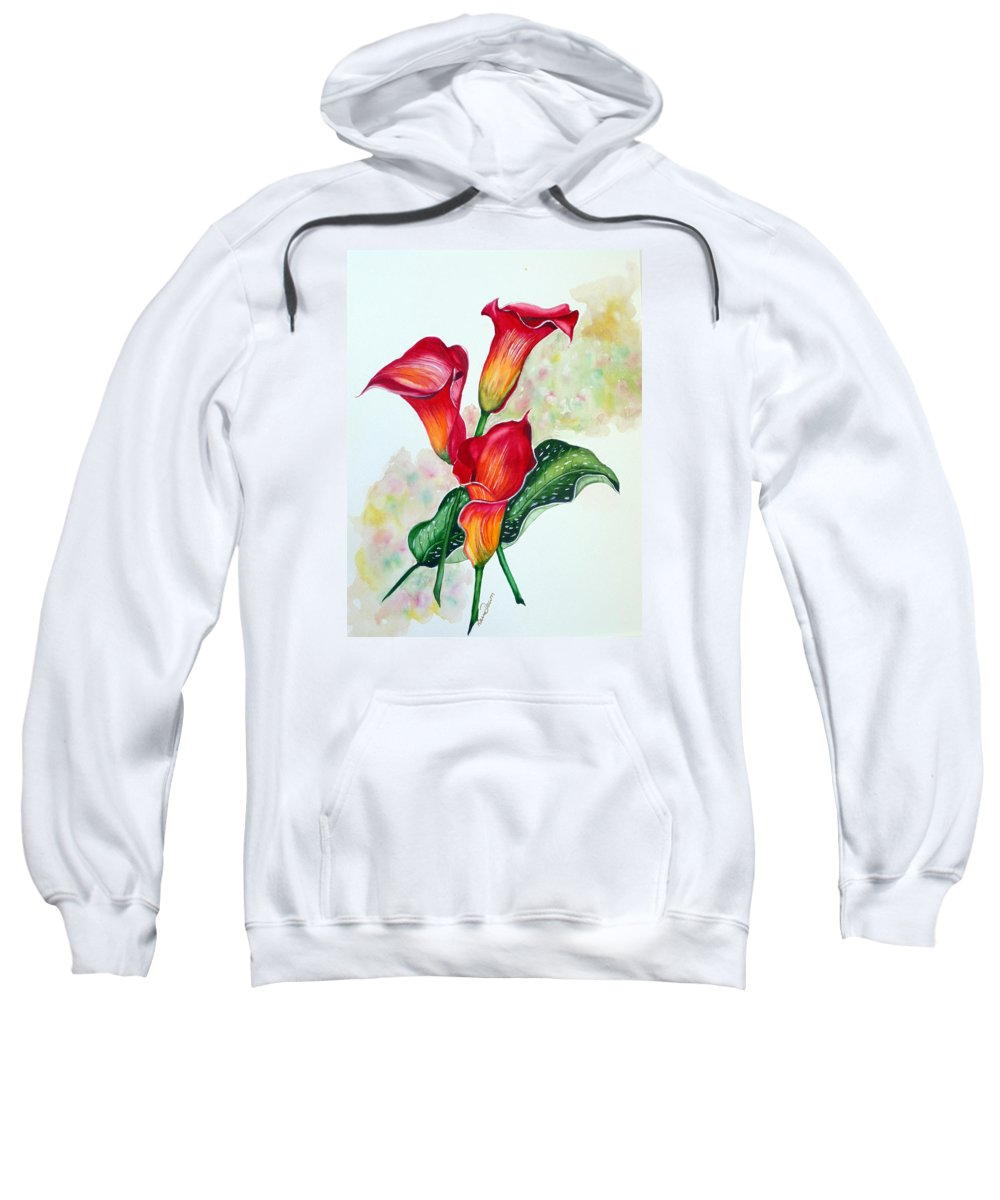 Floral Lily Paintings Flower Paintings Red Paintings Orange Paintings Calla Lily Paintings Tropical Paintings Caribbean Paintings  Greeting Card Paintings Canvas Paintings Poster Paintings Sweatshirt featuring the painting Fiery Callas by Karin Dawn Kelshall- Best