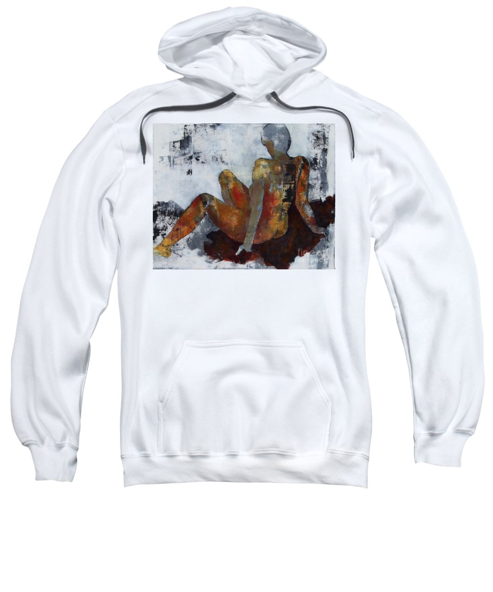 Female Figure Study Sweatshirt featuring the painting Figure Study 051 by Donna Frost
