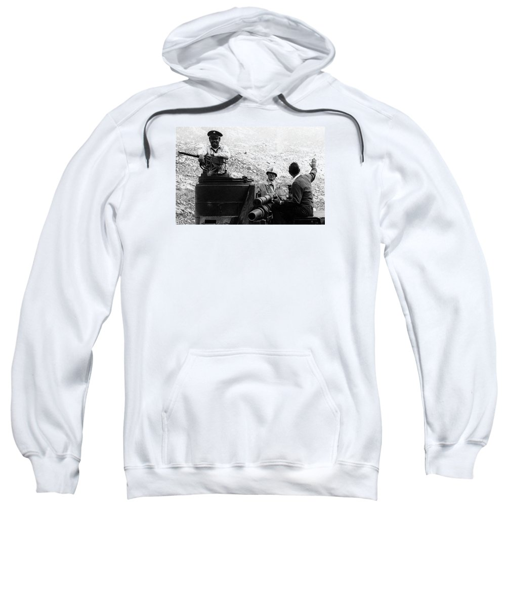 Film Homage Ivan Dixon Suppose They Gave A War And Nobody Came 1970 Golder Dam Tucson Arizona 1969-2008 Sweatshirt featuring the photograph Film Homage Ivan Dixon Suppose They Gave A War And Nobody Came 1970 Golder Dam Tucson Az 1969-2008 by David Lee Guss
