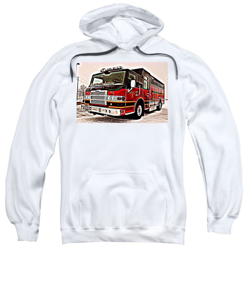 Fire Sweatshirt featuring the photograph Fire Engine Red by Frozen in Time Fine Art Photography