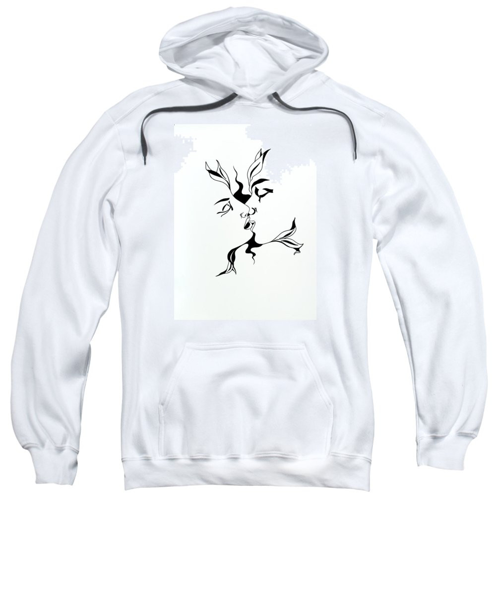 Love Sweatshirt featuring the drawing First Kiss by Yelena Tylkina