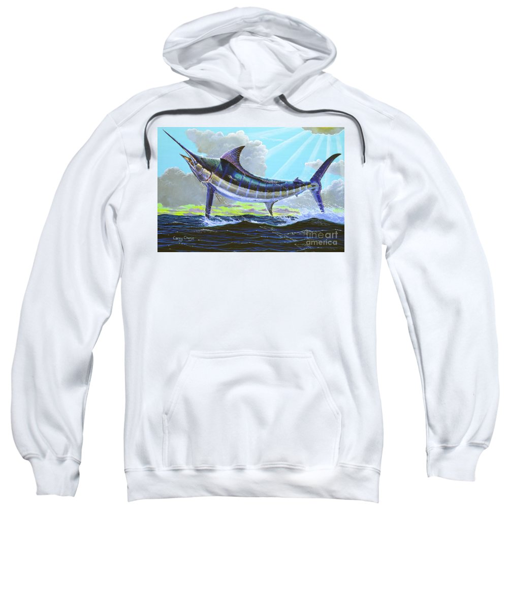 Marlin Sweatshirt featuring the painting First Run 00102 by Carey Chen