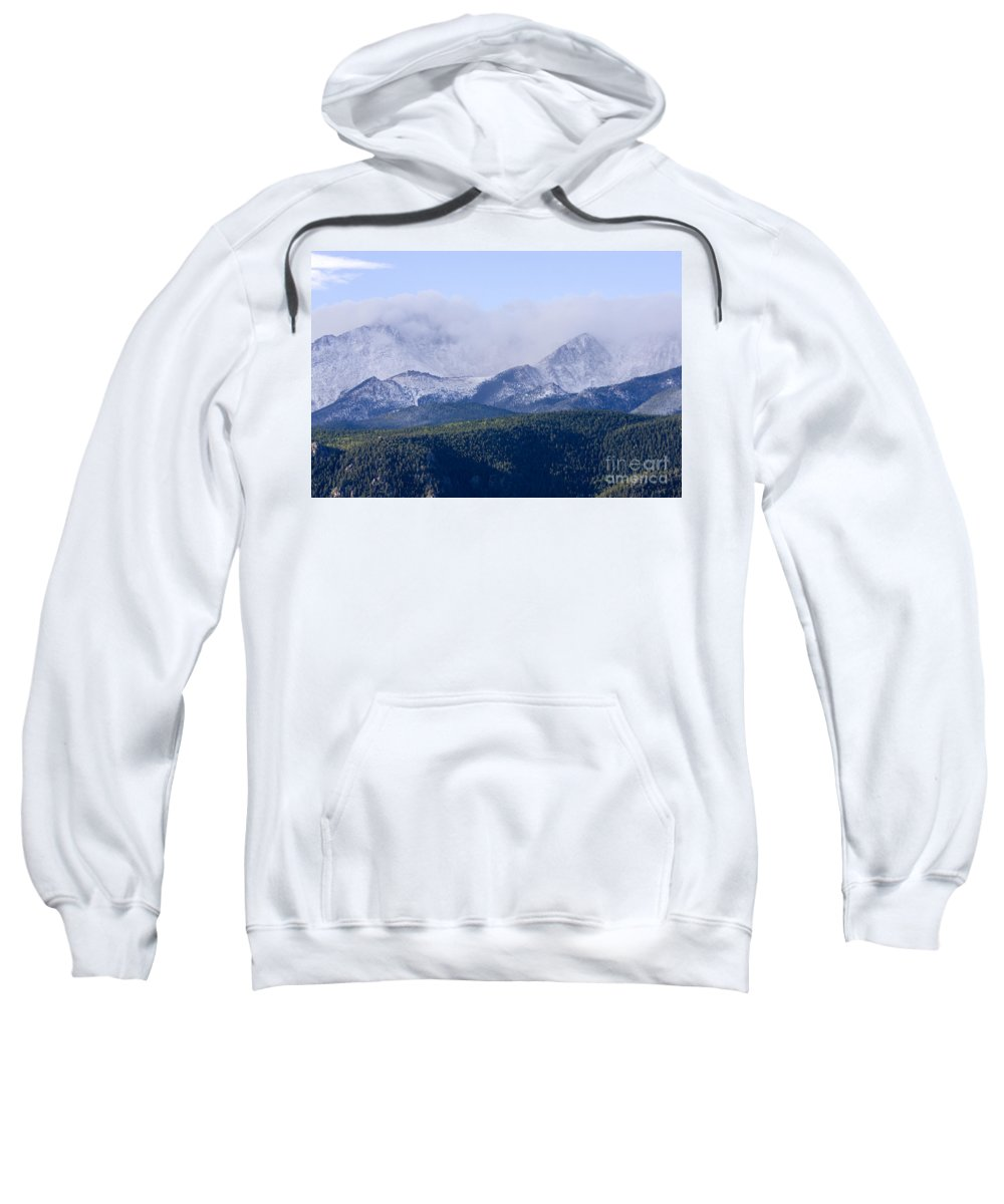 Pikes Peak Sweatshirt featuring the photograph First Snow by Steve Krull