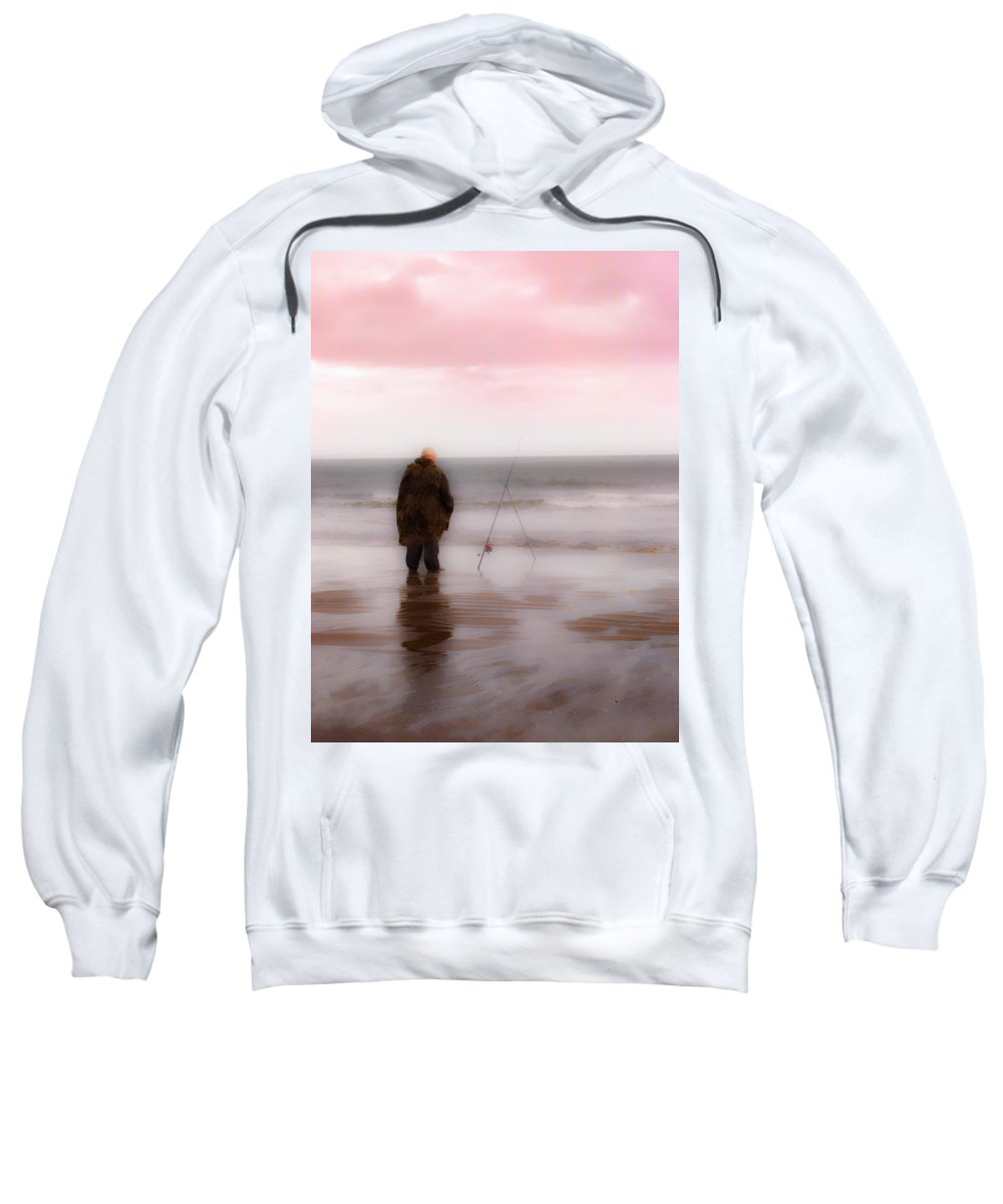 Sea Sweatshirt featuring the photograph Fisherman By The Sea by Hal Halli