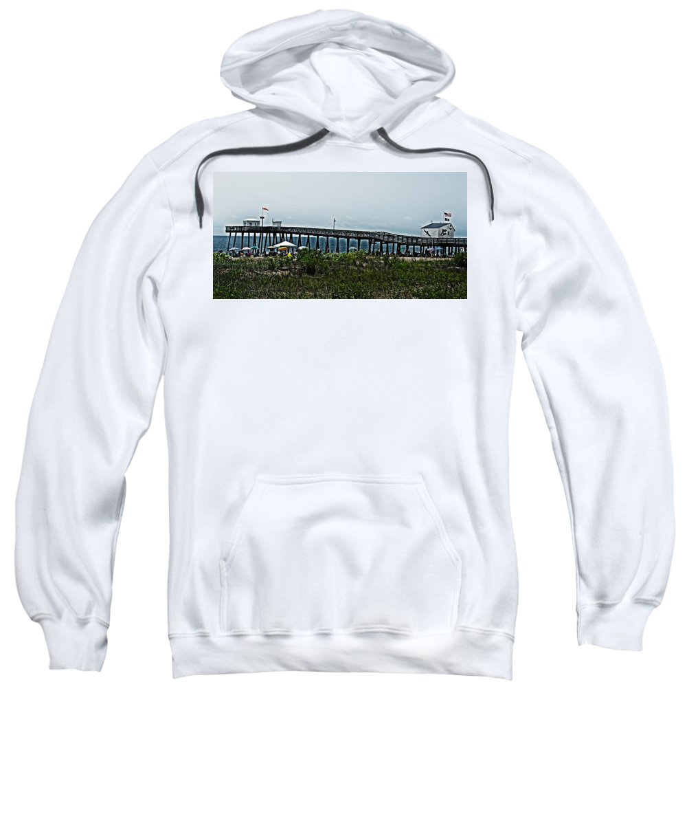 Fishing Sweatshirt featuring the photograph Fishing Pier by Tom Gari Gallery-Three-Photography