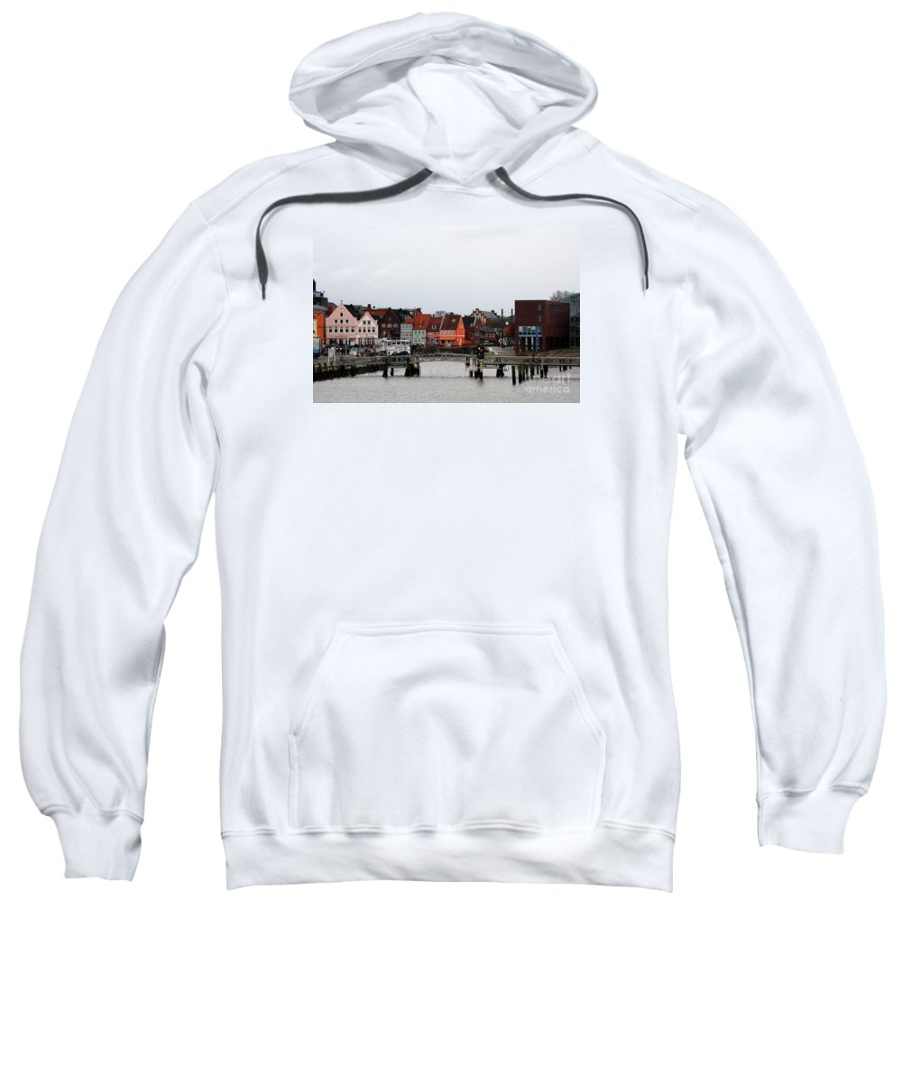Husum Sweatshirt featuring the photograph Fishing Port Husum by Christiane Schulze Art And Photography