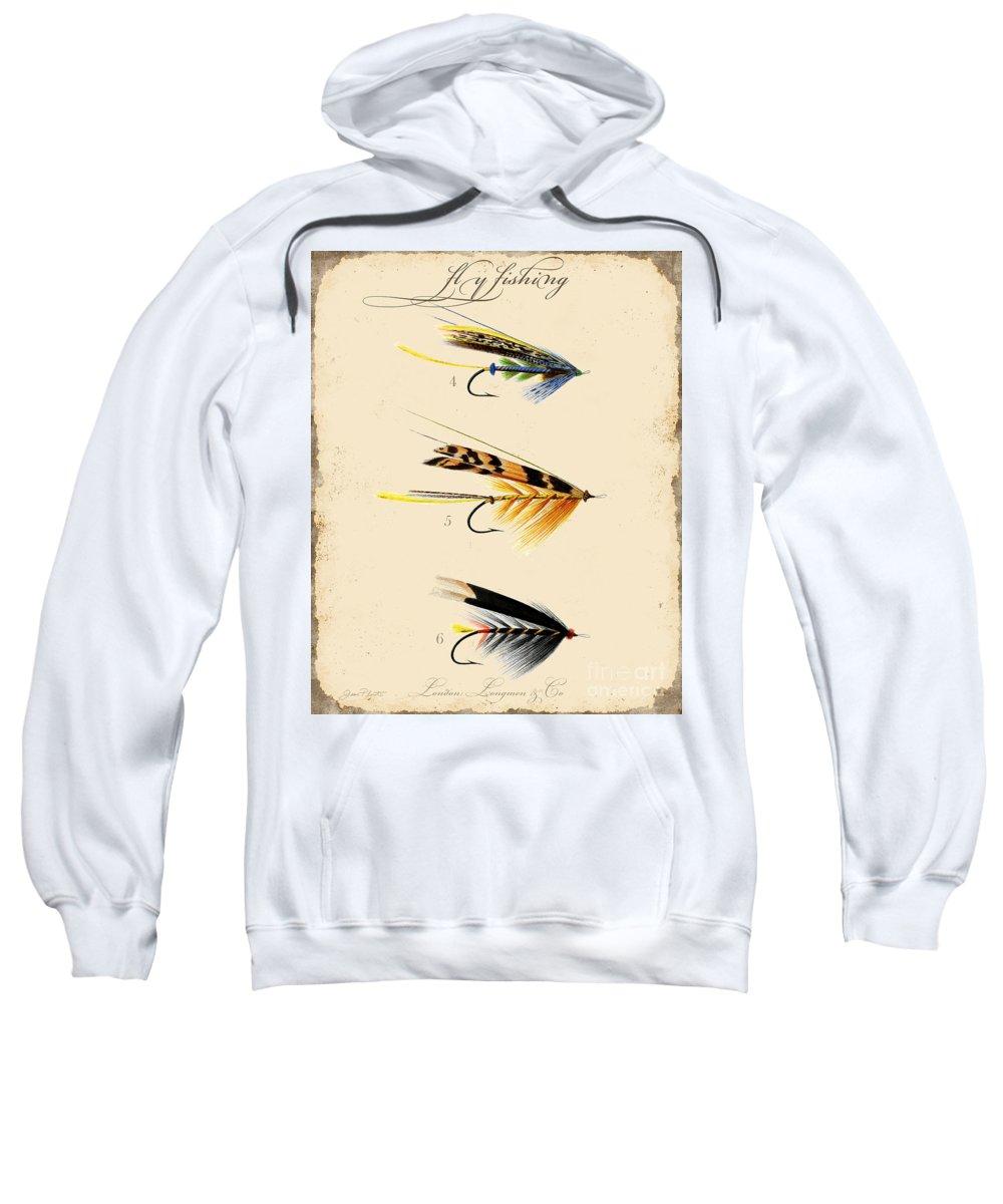 Casting Flies Sweatshirt featuring the digital art Fly Fishing-jp2095 by Jean Plout