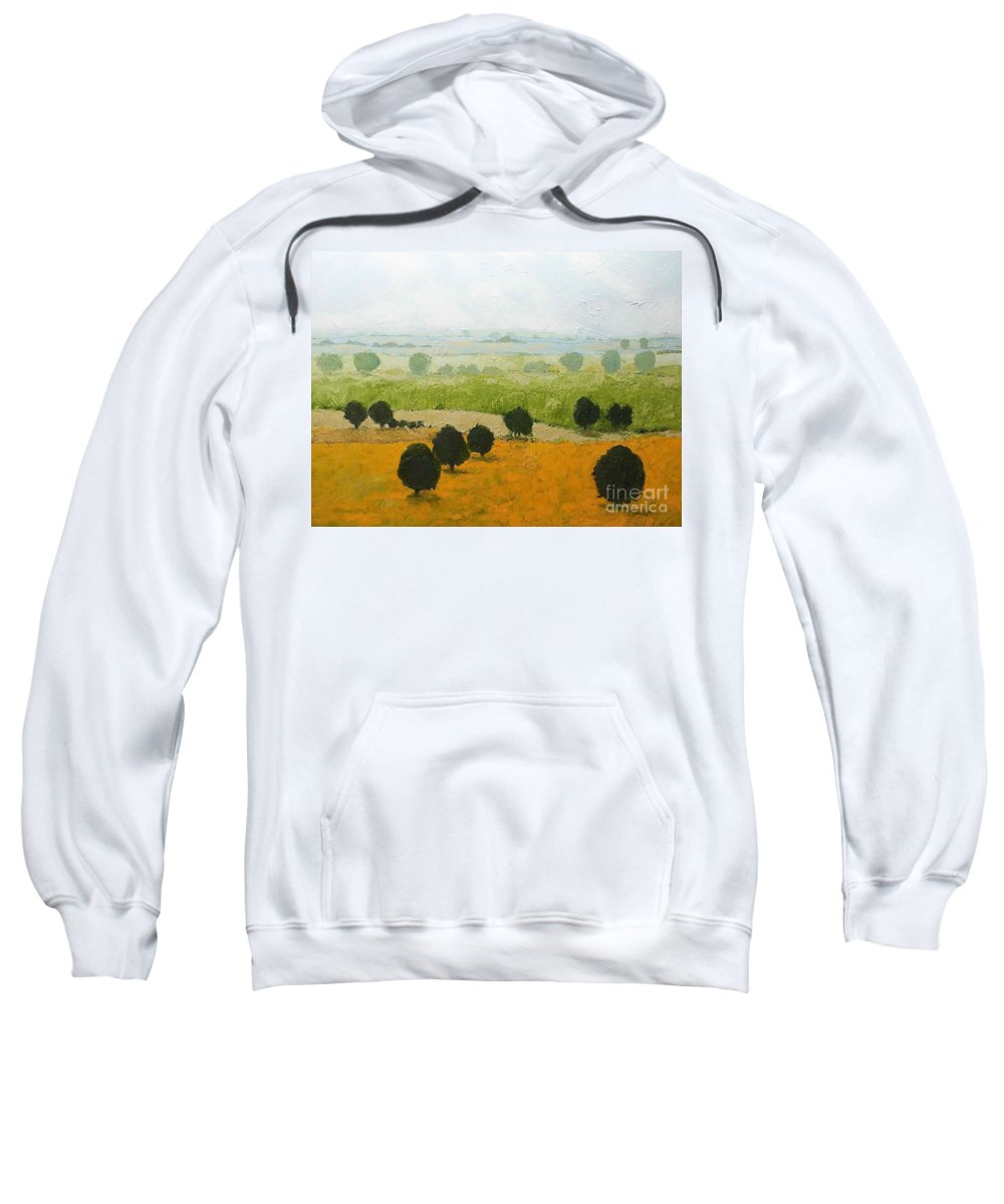 Landscape Sweatshirt featuring the painting Fog Lifting Fast by Allan P Friedlander