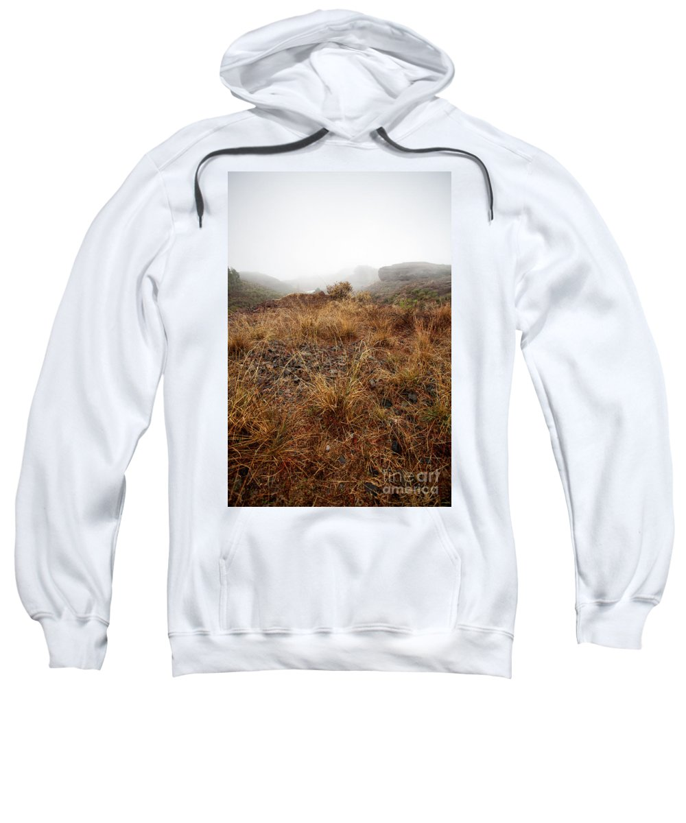 Field Sweatshirt featuring the photograph Foggy Landscape by Kati Finell
