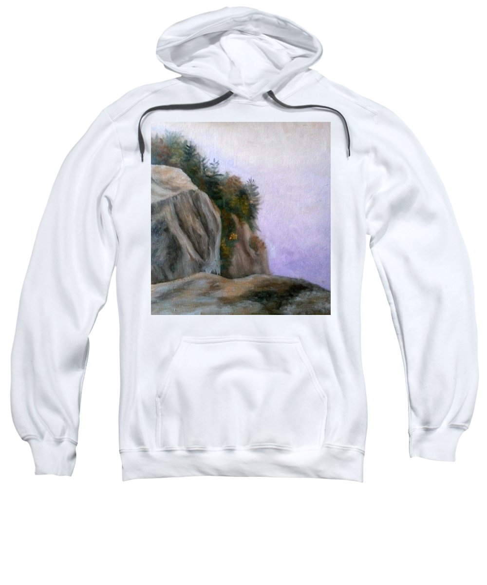 Cathedral Ledge Sweatshirt featuring the painting Foggy Morning at Cathedral Ledge by Sharon E Allen