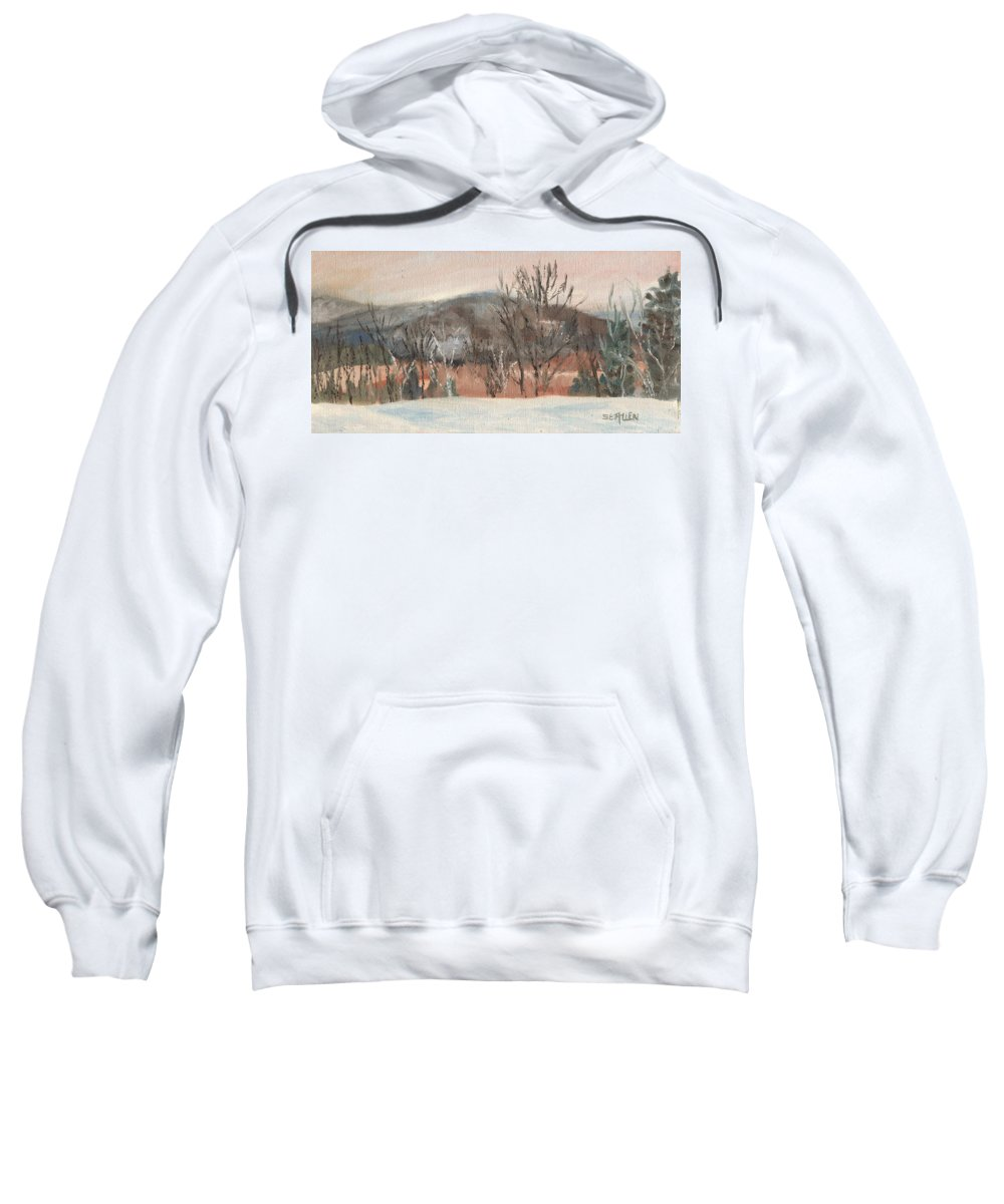 White Mountains Sweatshirt featuring the painting Foggy Winter Morning in Intervale by Sharon E Allen