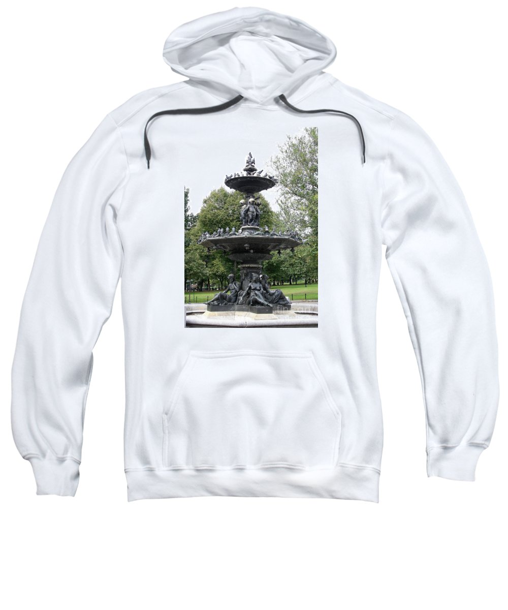 Fountain Sweatshirt featuring the photograph Fountain Boston Common by Christiane Schulze Art And Photography