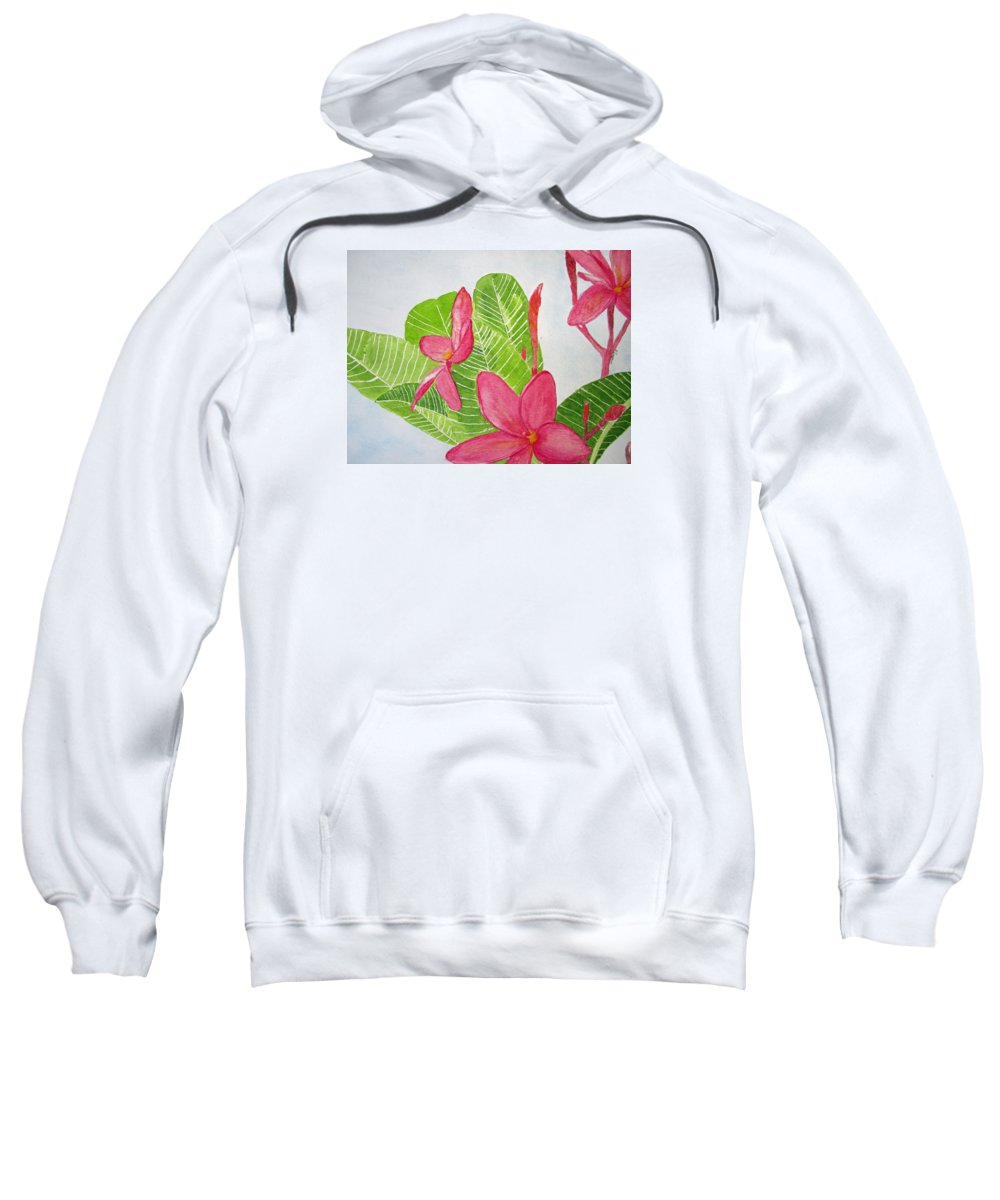 Floral Sweatshirt featuring the painting Frangipani Tree by Elvira Ingram