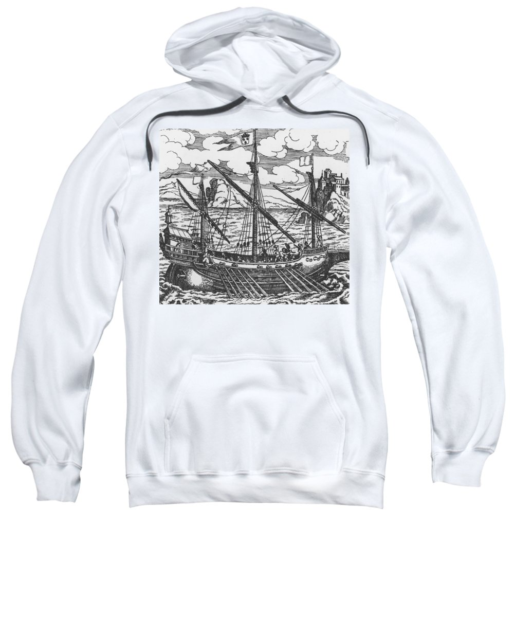Ship; Oar; Oars; Sail; Sails; Crew; Sea; Eastern Mediterranean; Trade; Port; Trading; Mast; Masts; Seaport; Seaports; Vessel; Woodcut; Engraving Sweatshirt featuring the drawing French Galley Operating In The Ports Of The Levant Since Louis Xi by French School