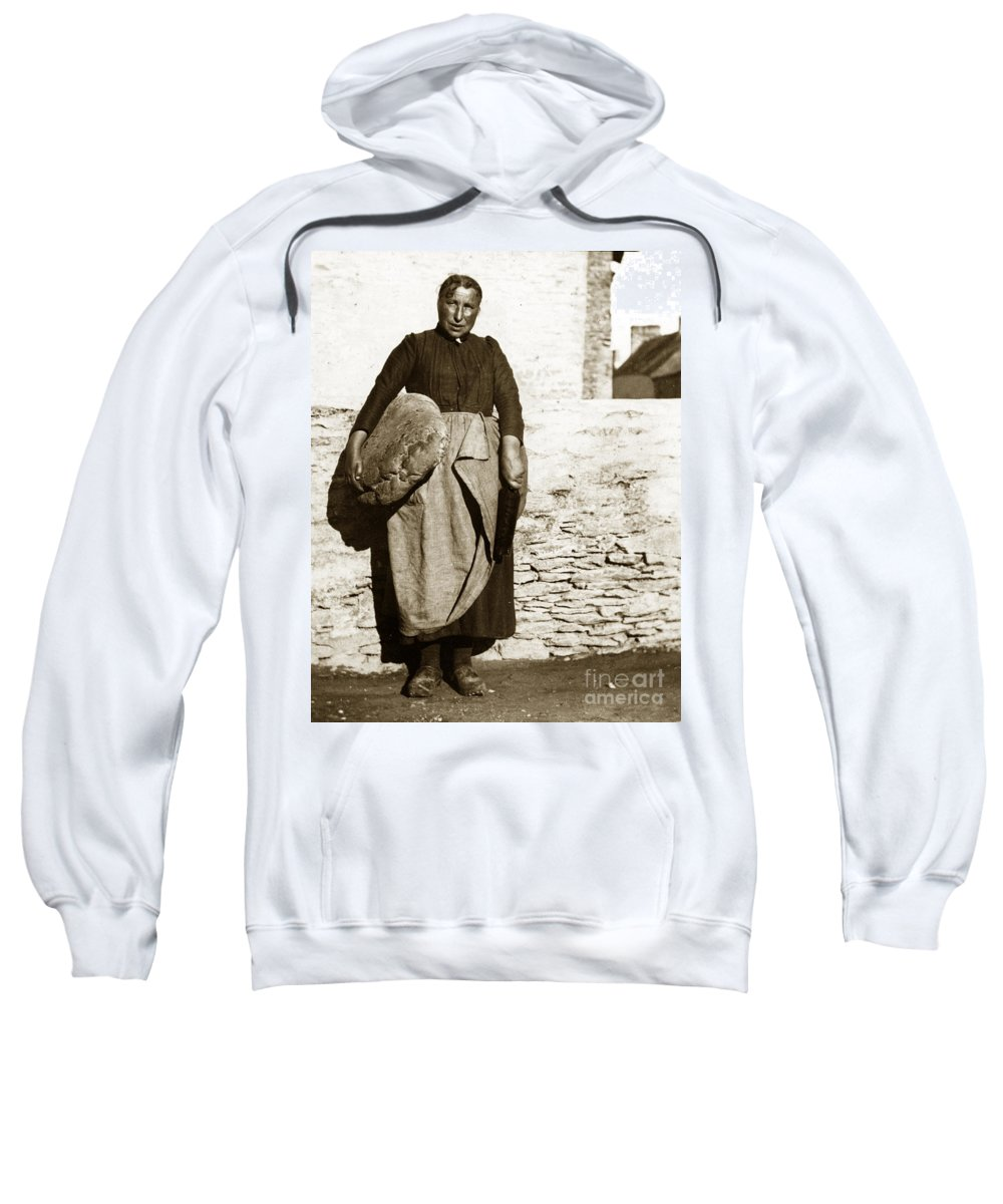 French Sweatshirt featuring the photograph French Lady With A Very Large Bread France 1900 by California Views Archives Mr Pat Hathaway Archives