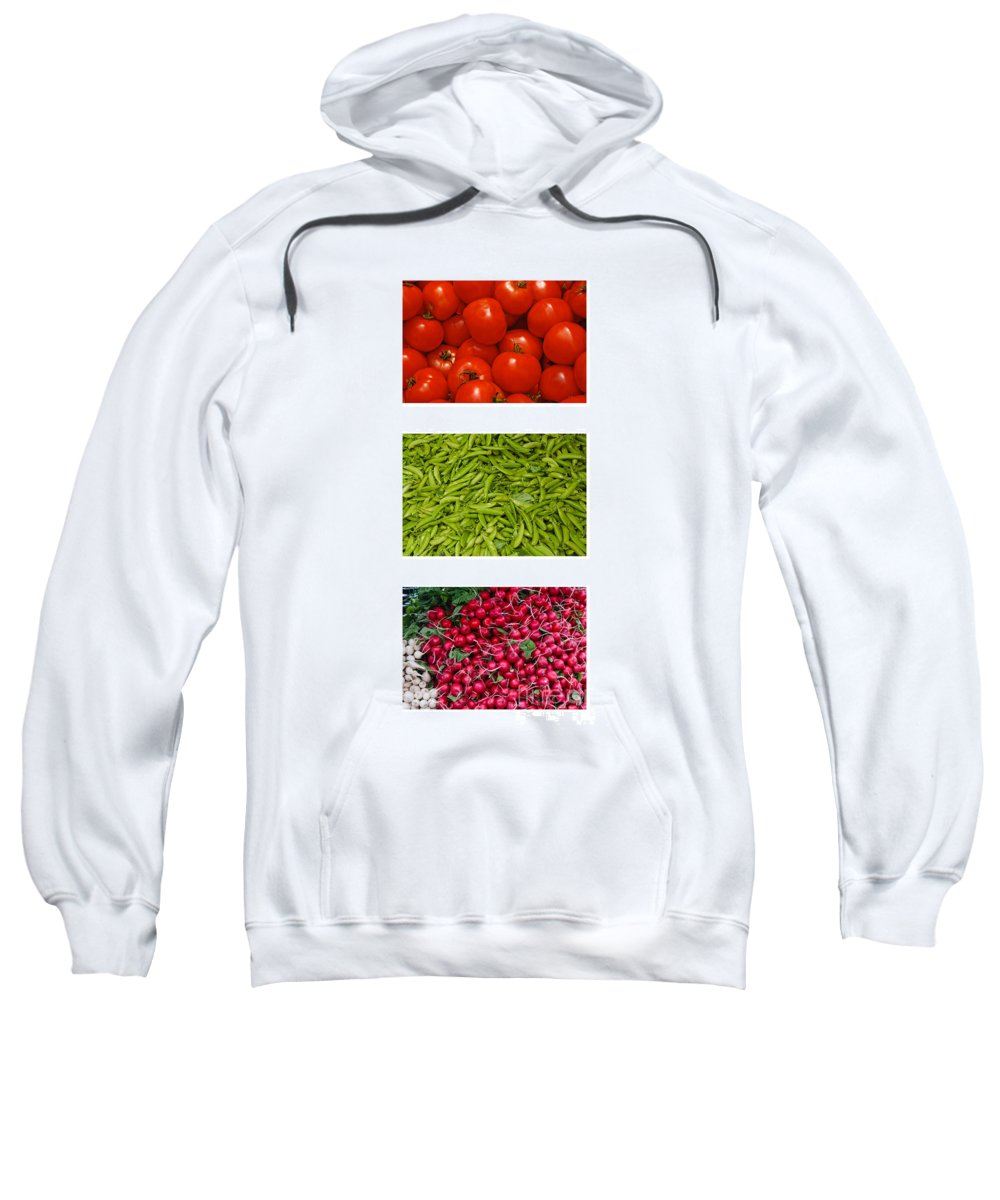 Tomato Sweatshirt featuring the photograph Fresh Vegetable Triptych by Thomas Marchessault